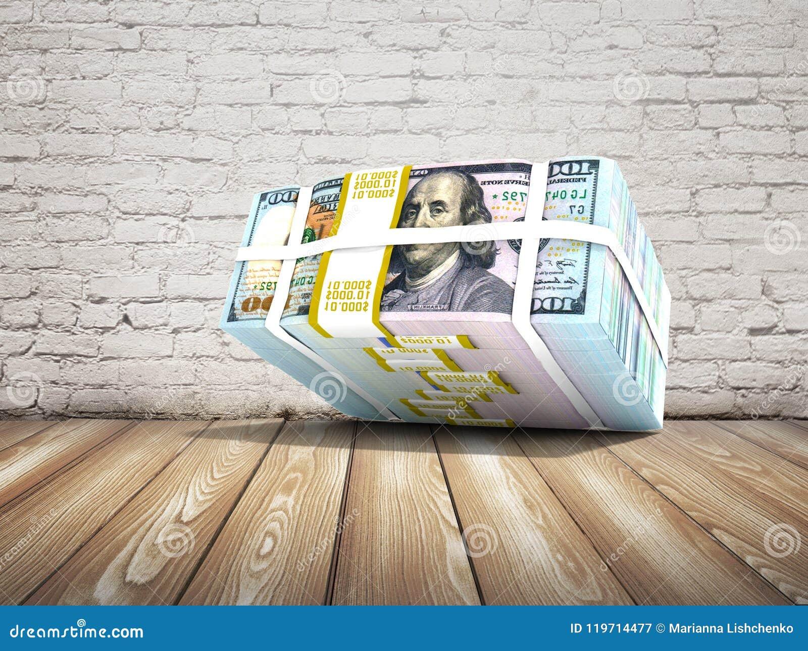 La acción moderna de dólares cayó desde arriba de la representación 3d en un ladrillo