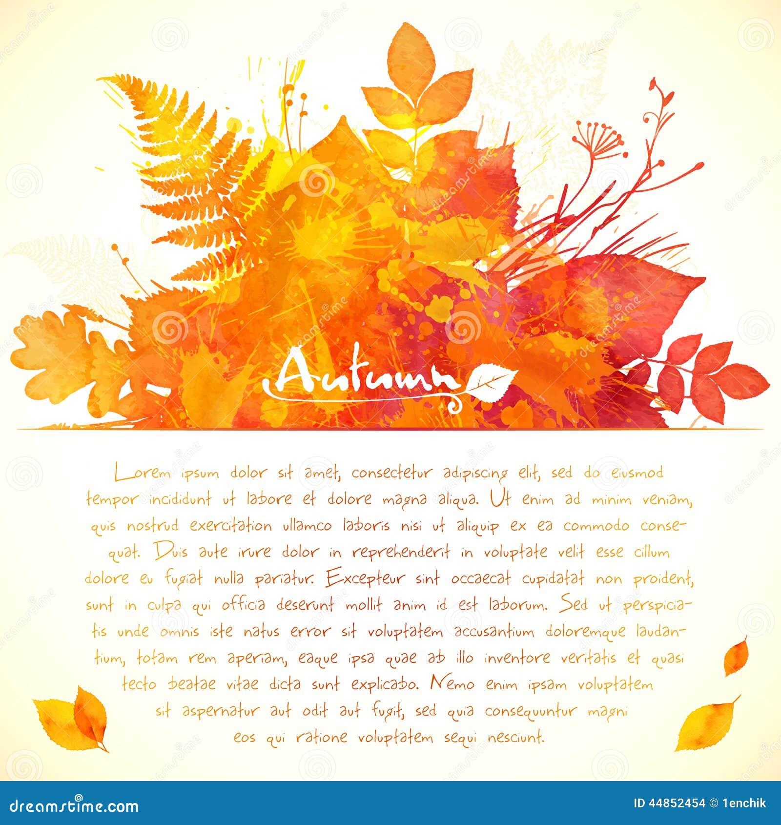 Download La Acuarela Anaranjada Pintada Sale De La Tarjeta De Felicitación Ilustración del Vector - Ilustración de otoño, cubo: 44852454