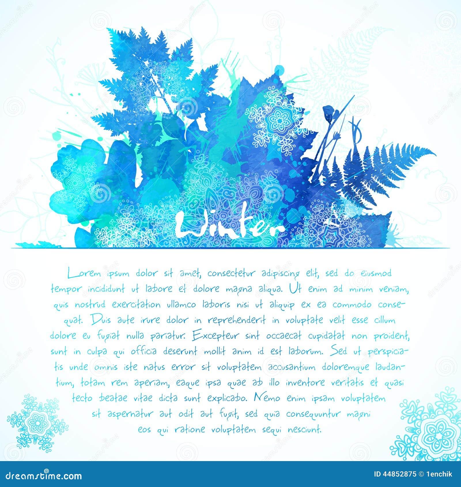 La acuarela azul pintada invierno sale del saludo