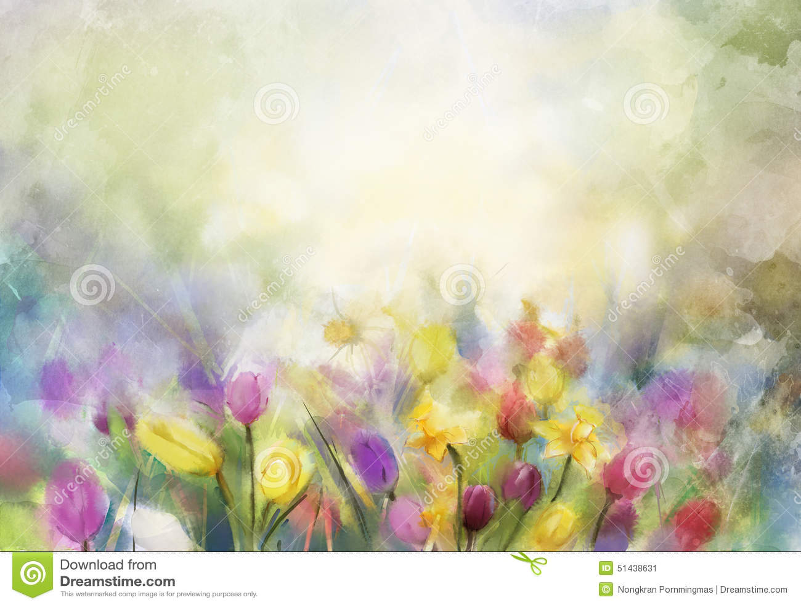 La acuarela florece la pintura