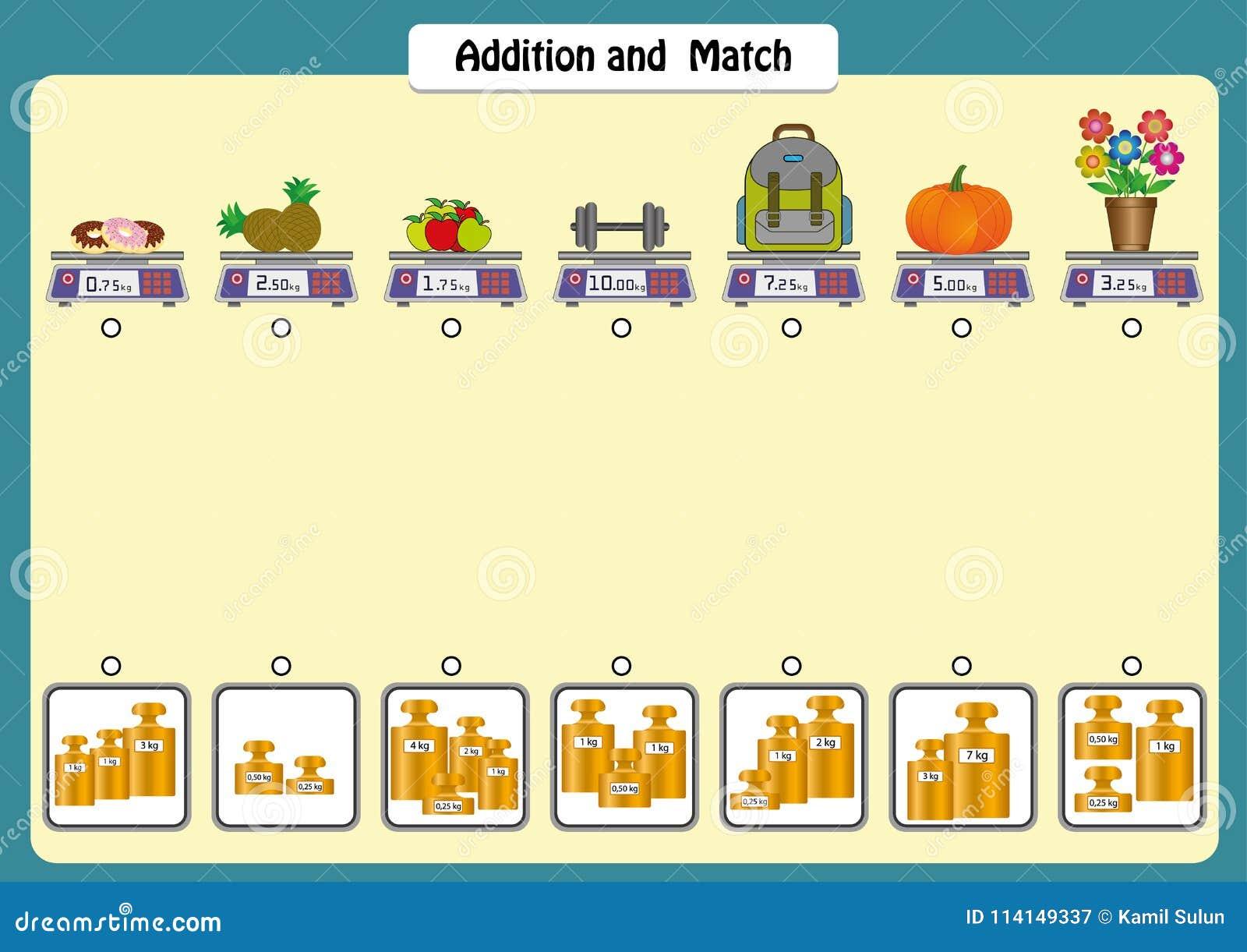 La adición y hace juego los pesos de objetos, las hojas de trabajo de la matemáticas para los niños, las escalas y los pesos