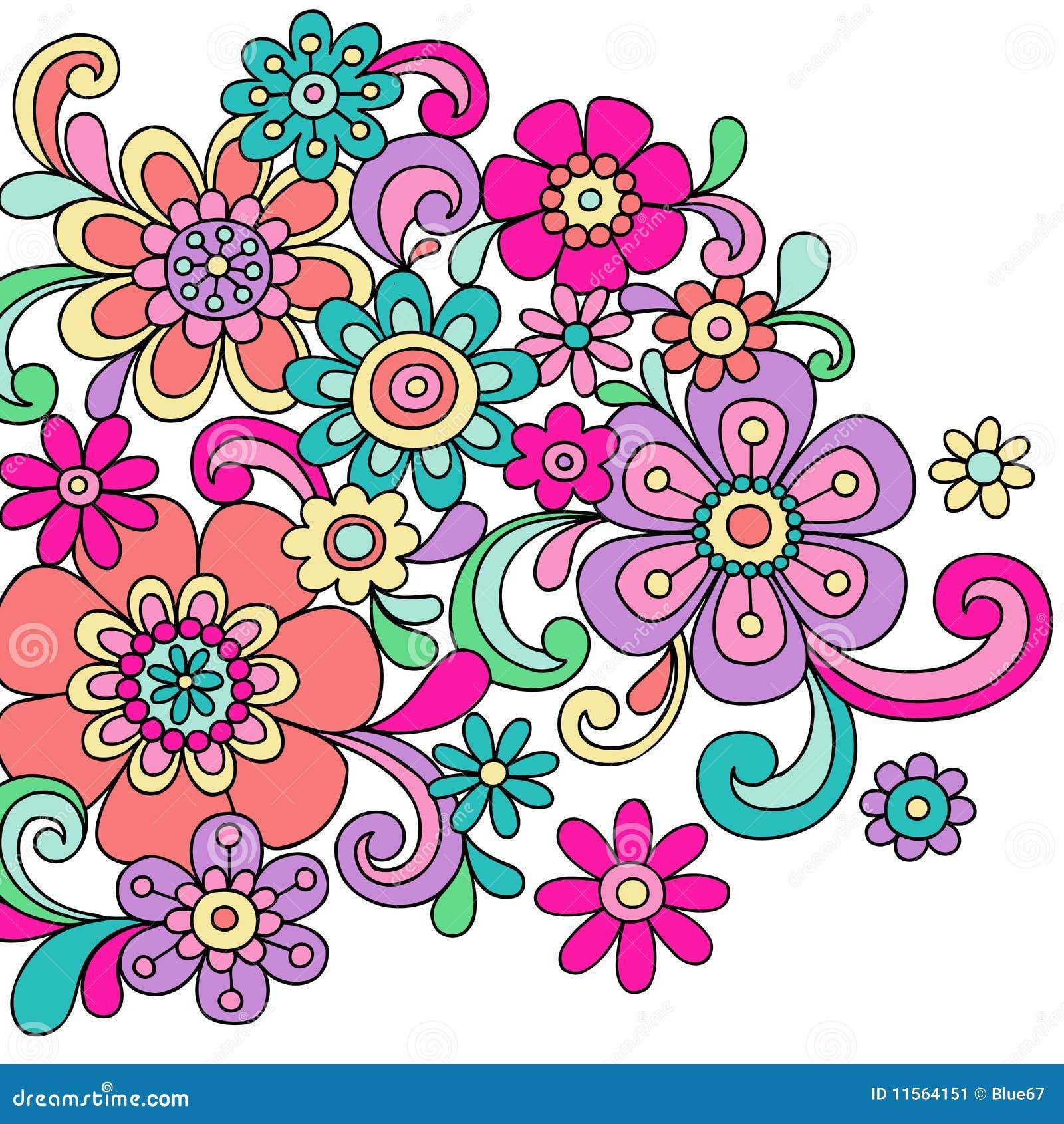 La alheña psicodélica del Doodle florece vector