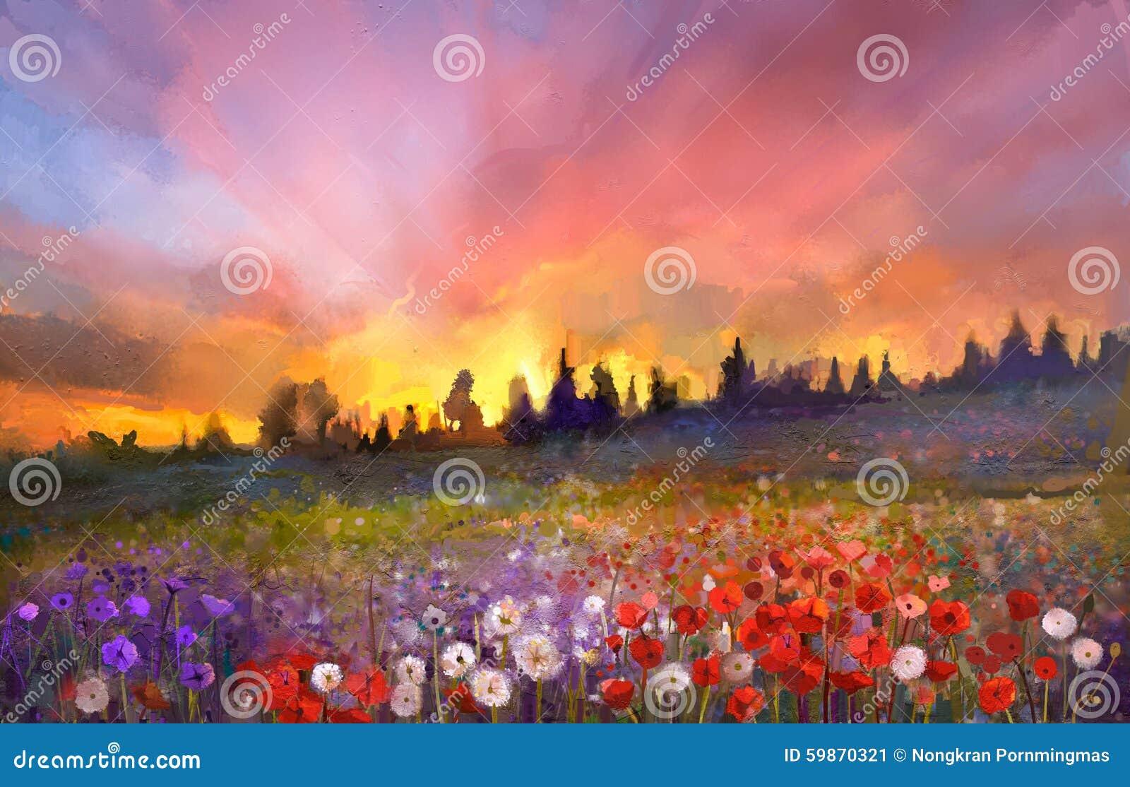 La amapola de la pintura al óleo, diente de león, margarita florece en campos
