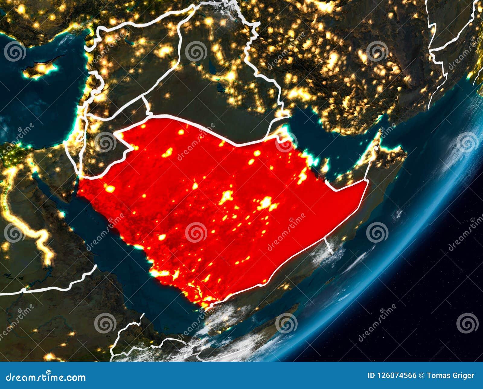 La Arabia Saudita en la tierra en la noche