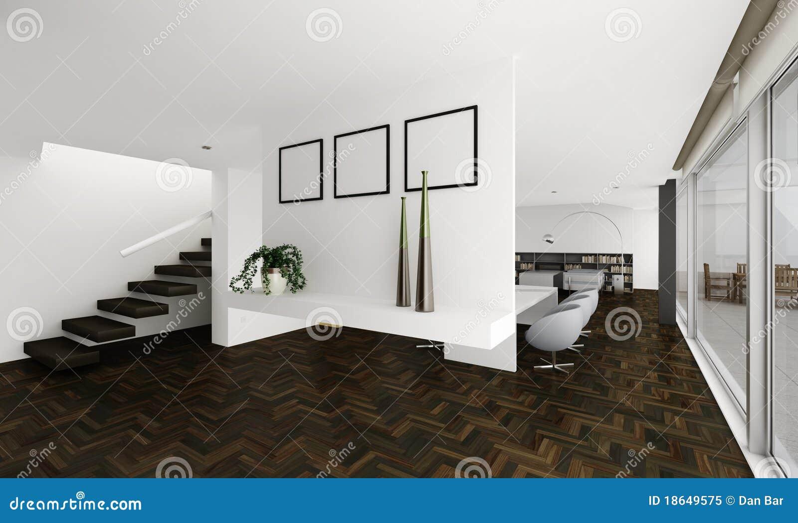 La arcilla 3d rinde de un interior moderno