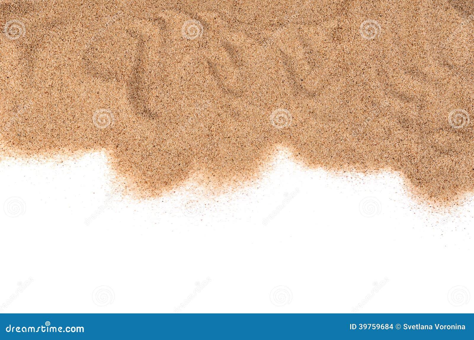 La arena aislada en el fondo blanco