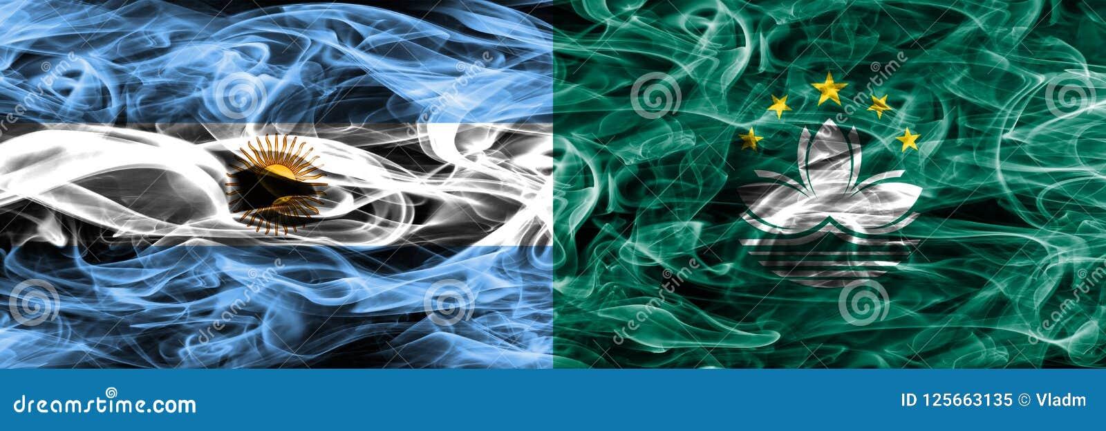 La Argentina contra las banderas del humo de Macao colocadas de lado a lado Colore grueso