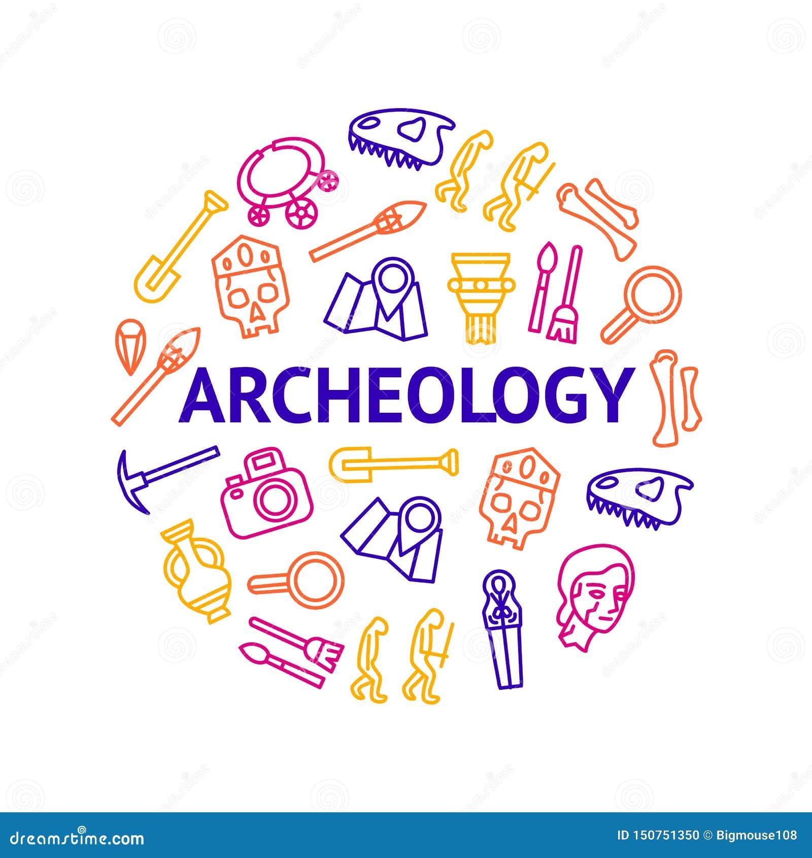 La arqueología firma la línea fina alrededor del anuncio de la plantilla del diseño Vector
