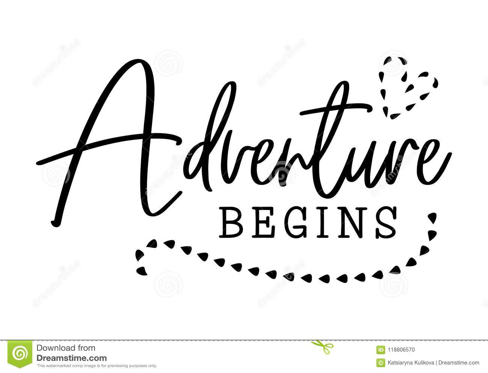 La aventura comienza Diseño de la tipografía de la boda Cita de la boda del novio y de la novia con el corazón La aventura del ve