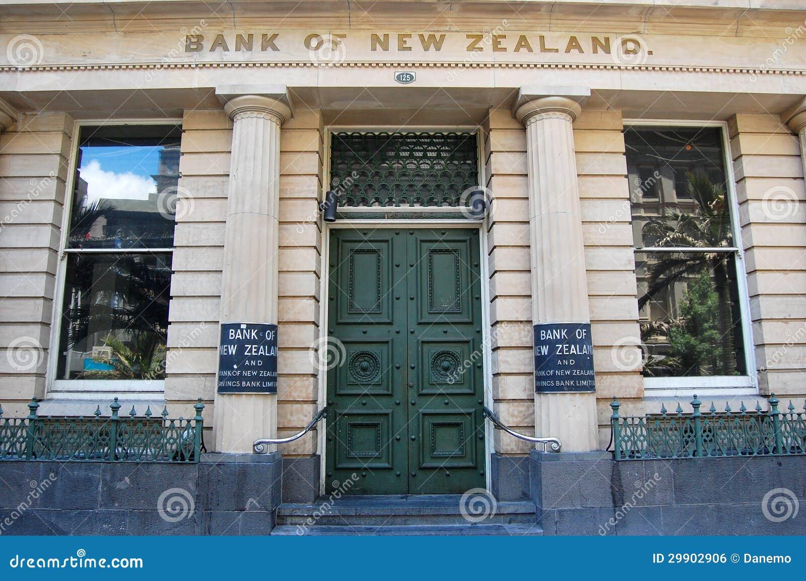 La Banca della costruzione esteriore dell entrata della Nuova Zelanda