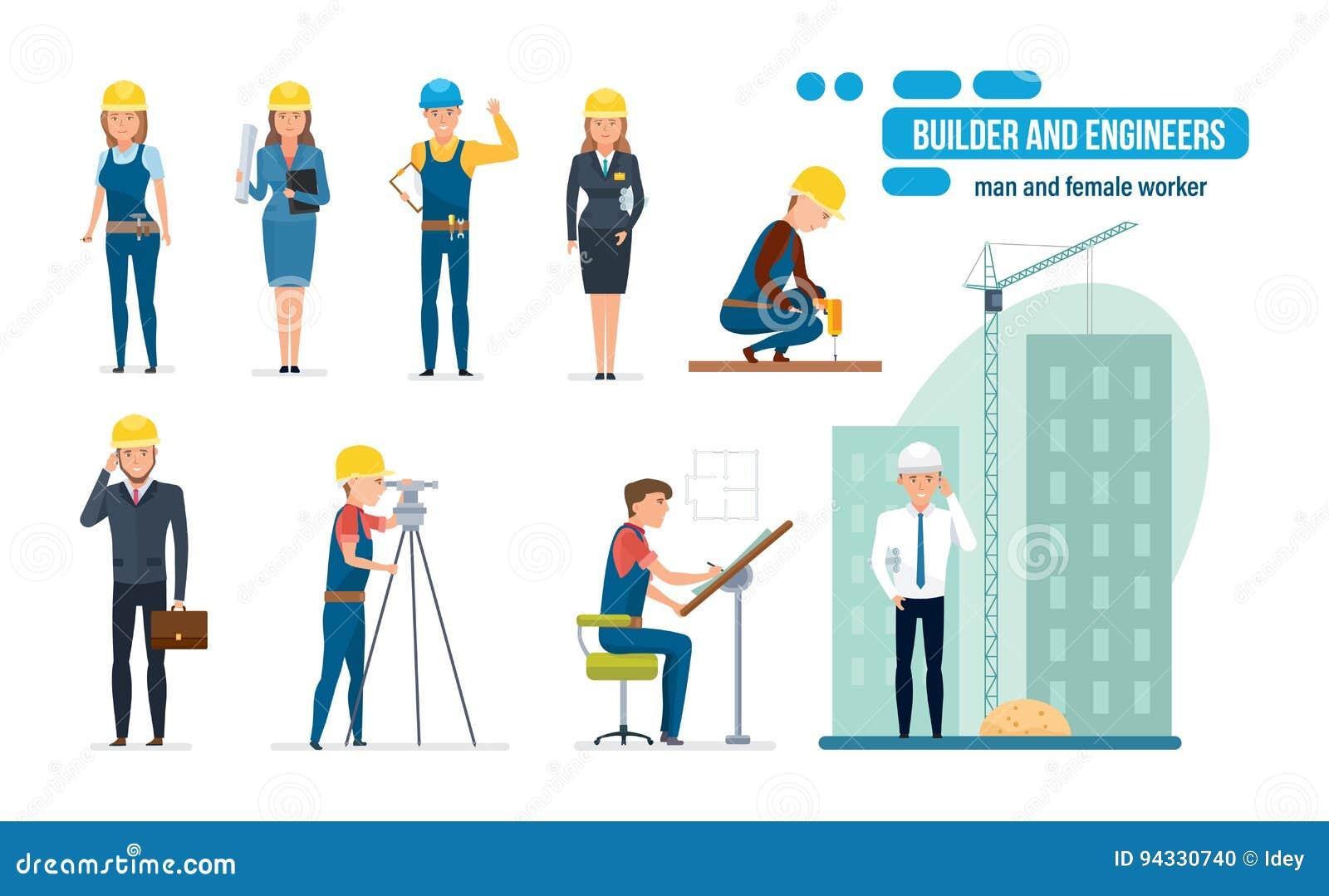 La bande dessinée d ingénieurs a placé avec les travailleurs de la construction, l architecte, le dépanneur et le directeur