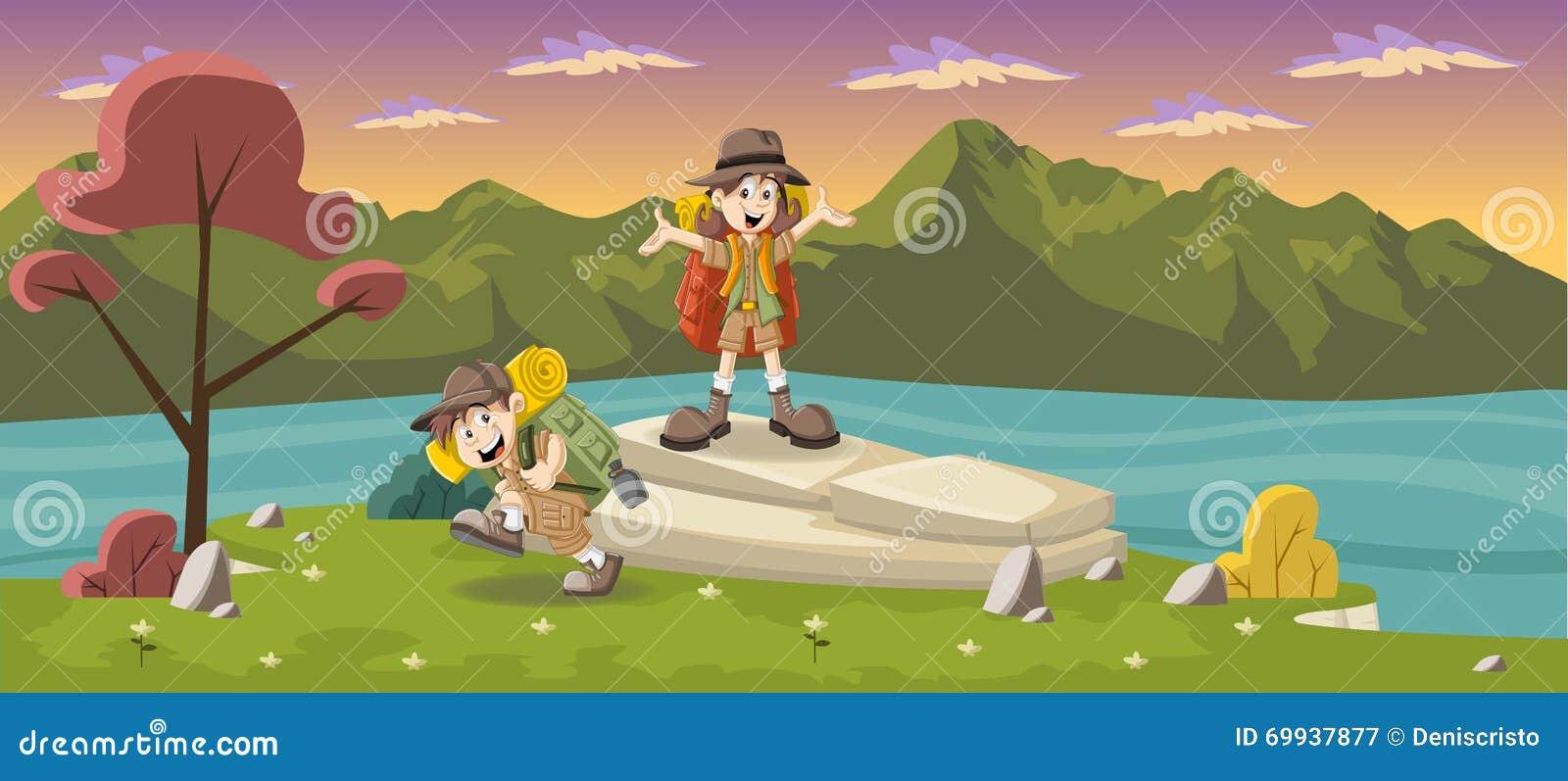 La bande dessinée mignonne badine dans l équipement d explorateur sur un parc vert