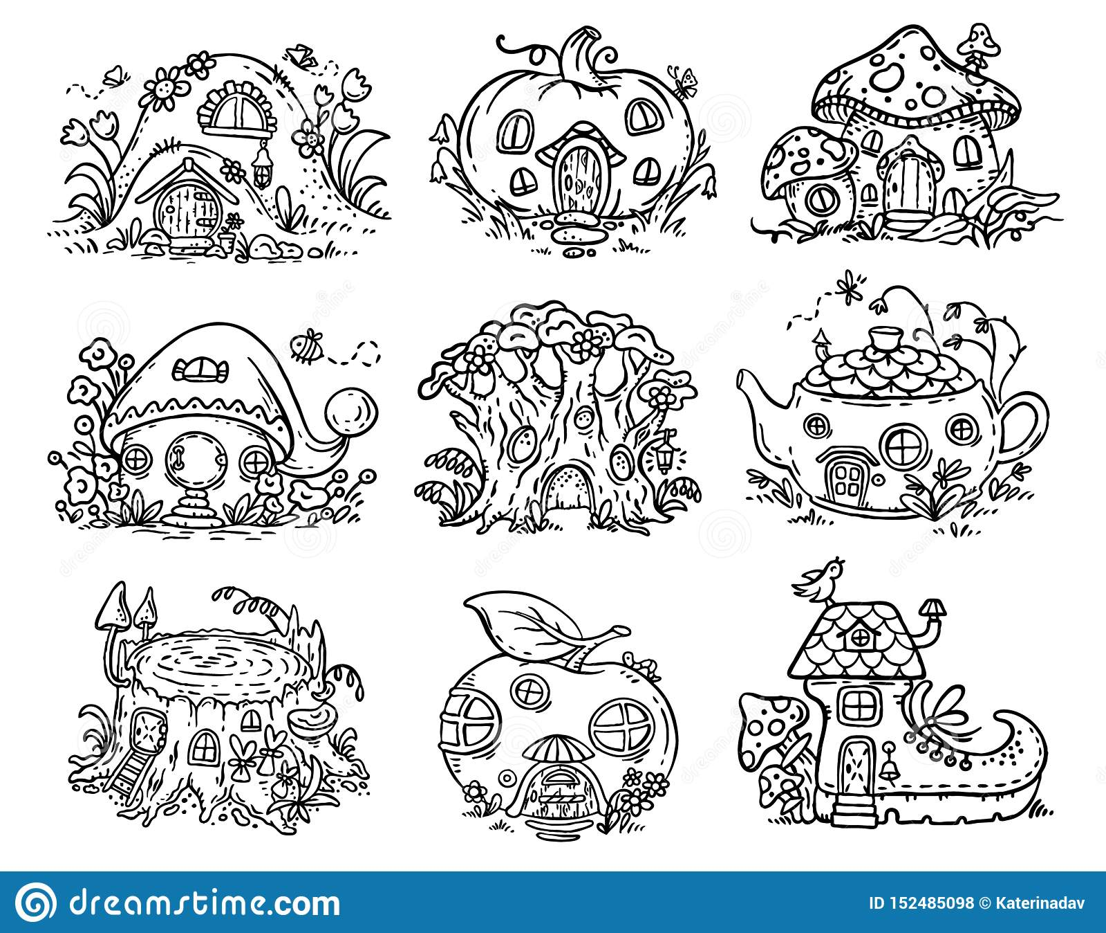 La bande dessinée mignonne les maisons elven, féerique ou de gnome sous forme de potiron, arbre, théière, botte, pomme, champigno