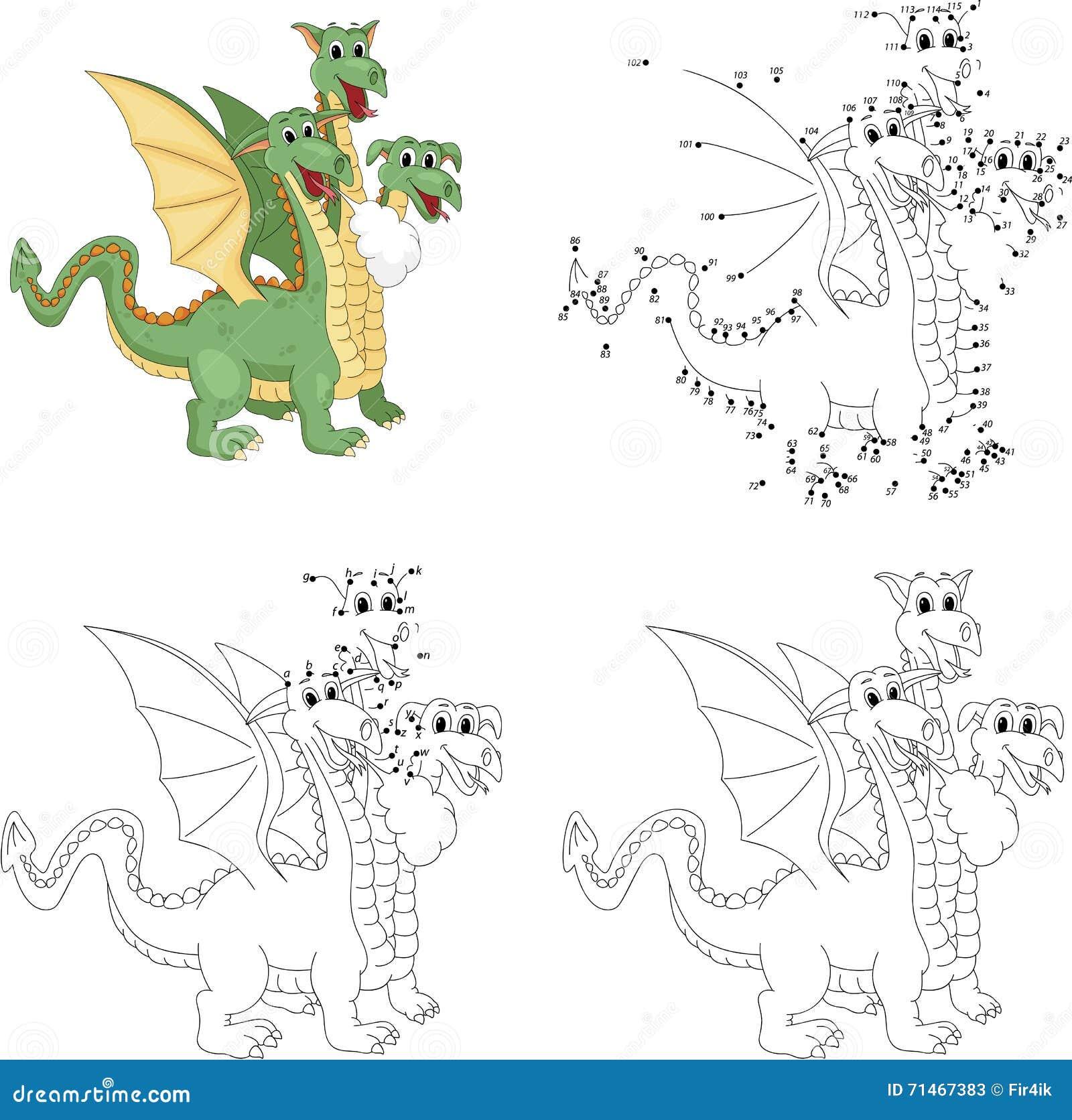 La bande dessinée trois dr´les a dirigé le dragon Livre de coloriage et point  pointiller