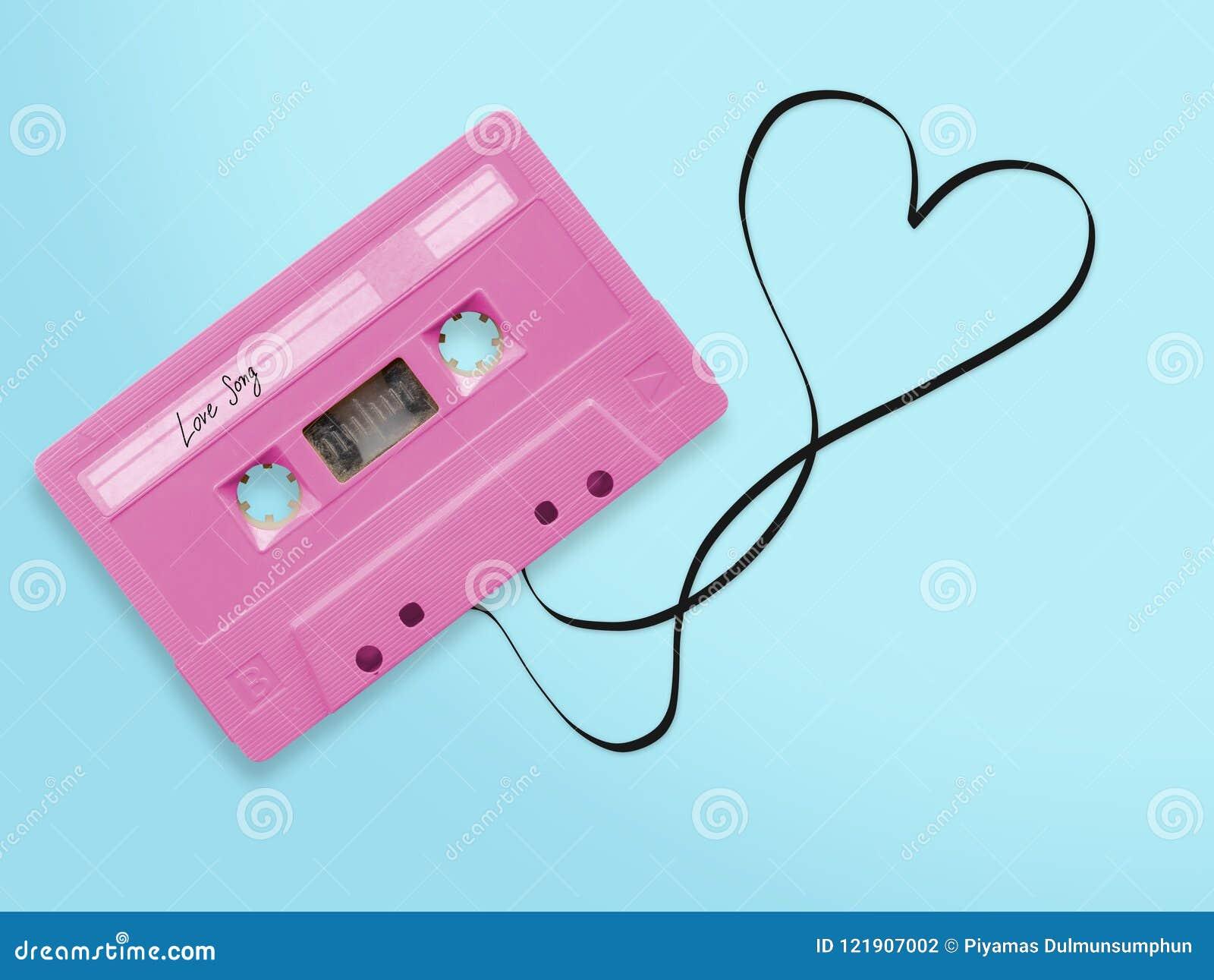 La bande rose de cassette sonore avec la chanson d amour d étiquette de label a embrouillé la bande