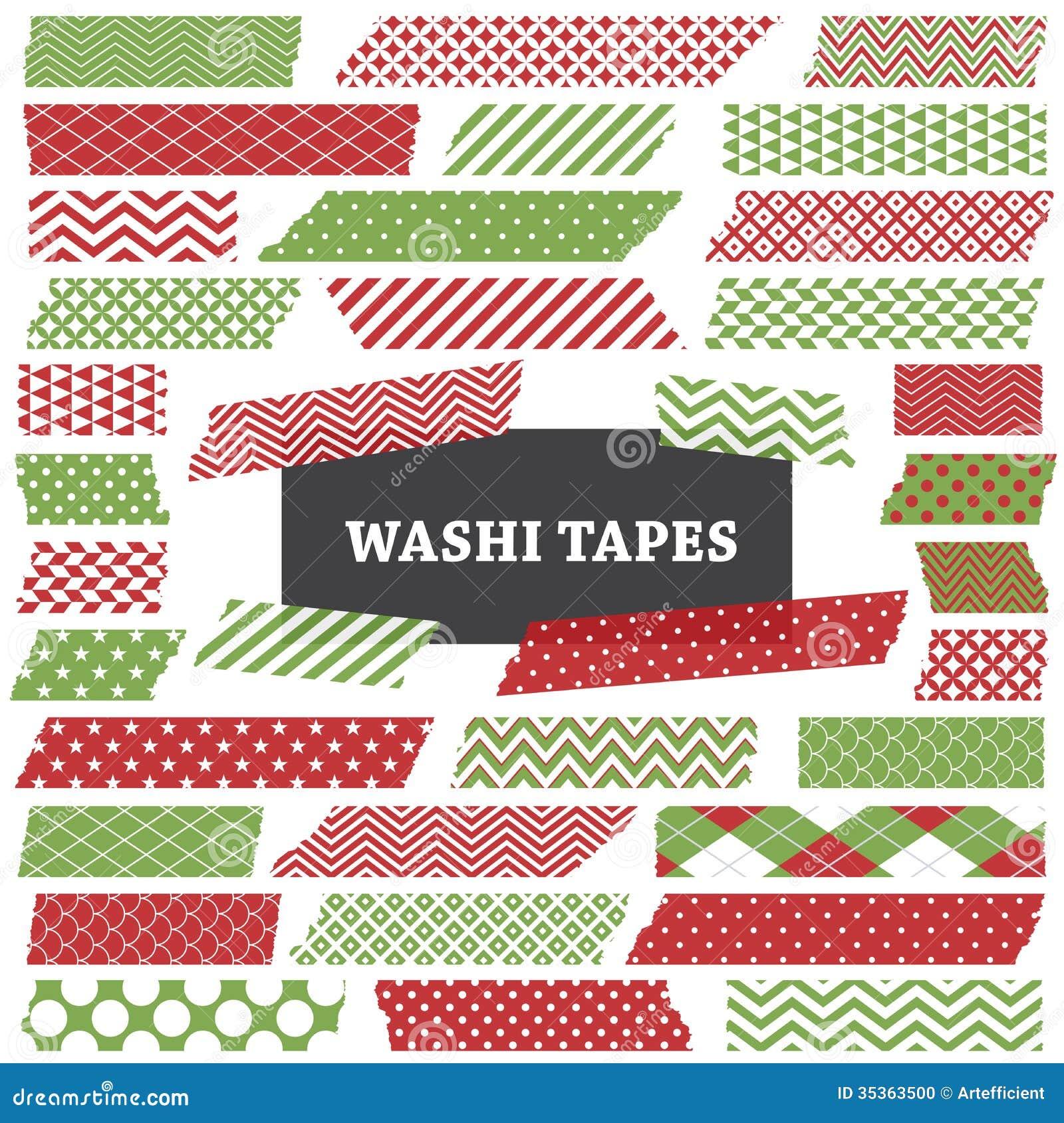 La bande rouge et verte de Noël de Washi dépouille le clipart (images graphiques)