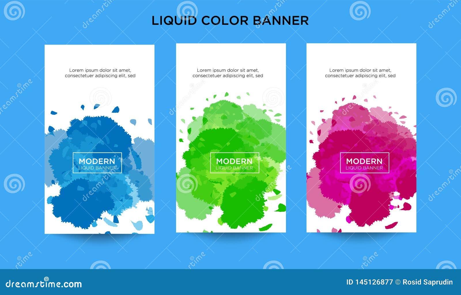 La bandera abstracta moderna del vector fijó formas líquidas con diversos colores Plantillas modernas del vector, plantillas pa