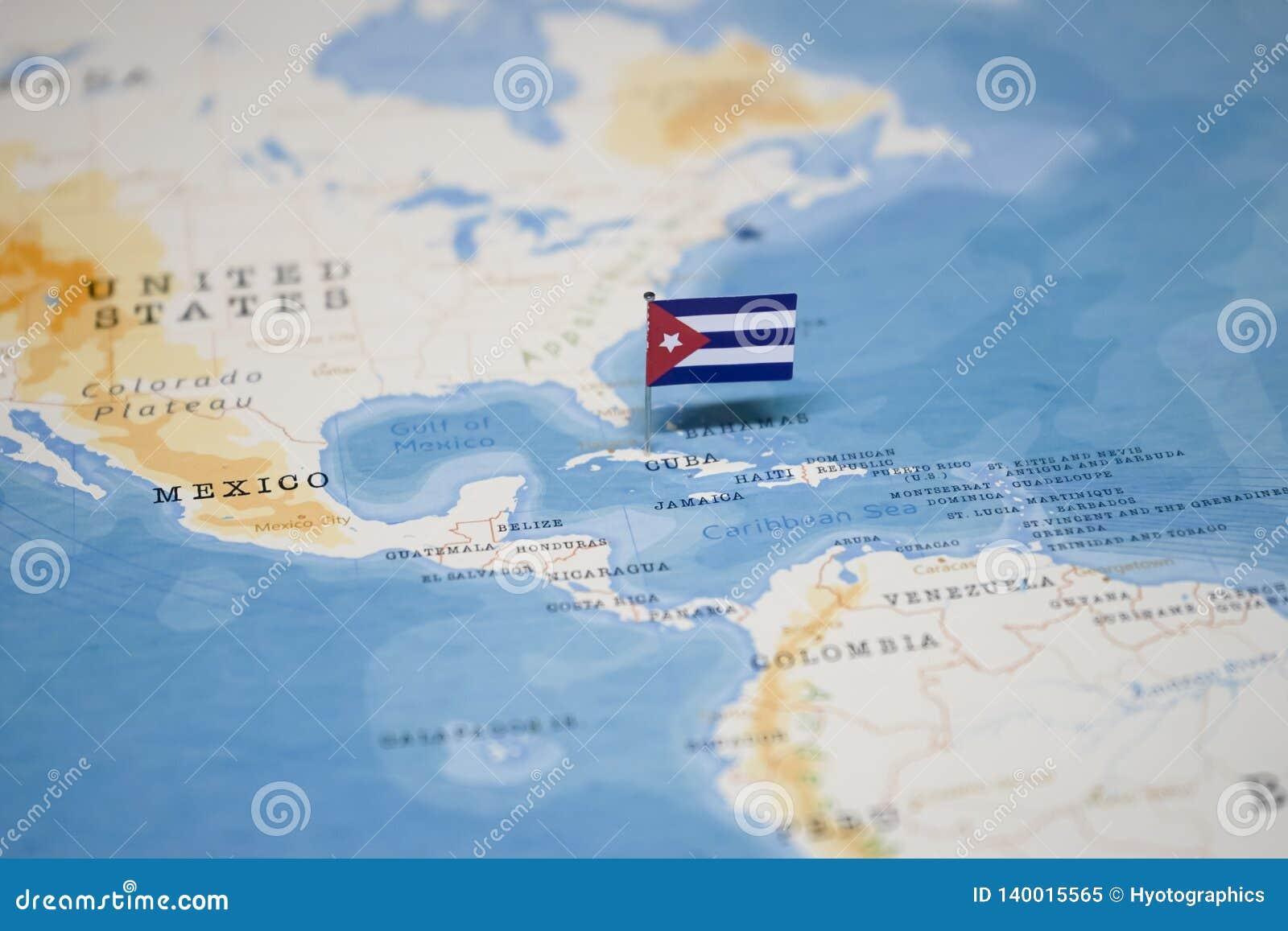 Cuba Mapa Del Mundo.La Bandera De Cuba En El Mapa Del Mundo Imagen De Archivo Imagen De Bandera Mapa 140015565