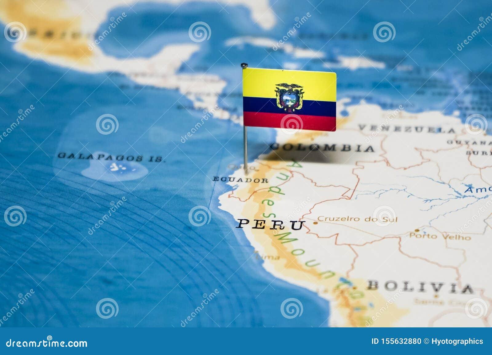 Ecuador Mapa Del Mundo.La Bandera De Ecuador En El Mapa Del Mundo Foto De Archivo Imagen De Bandera Mundo 155632880