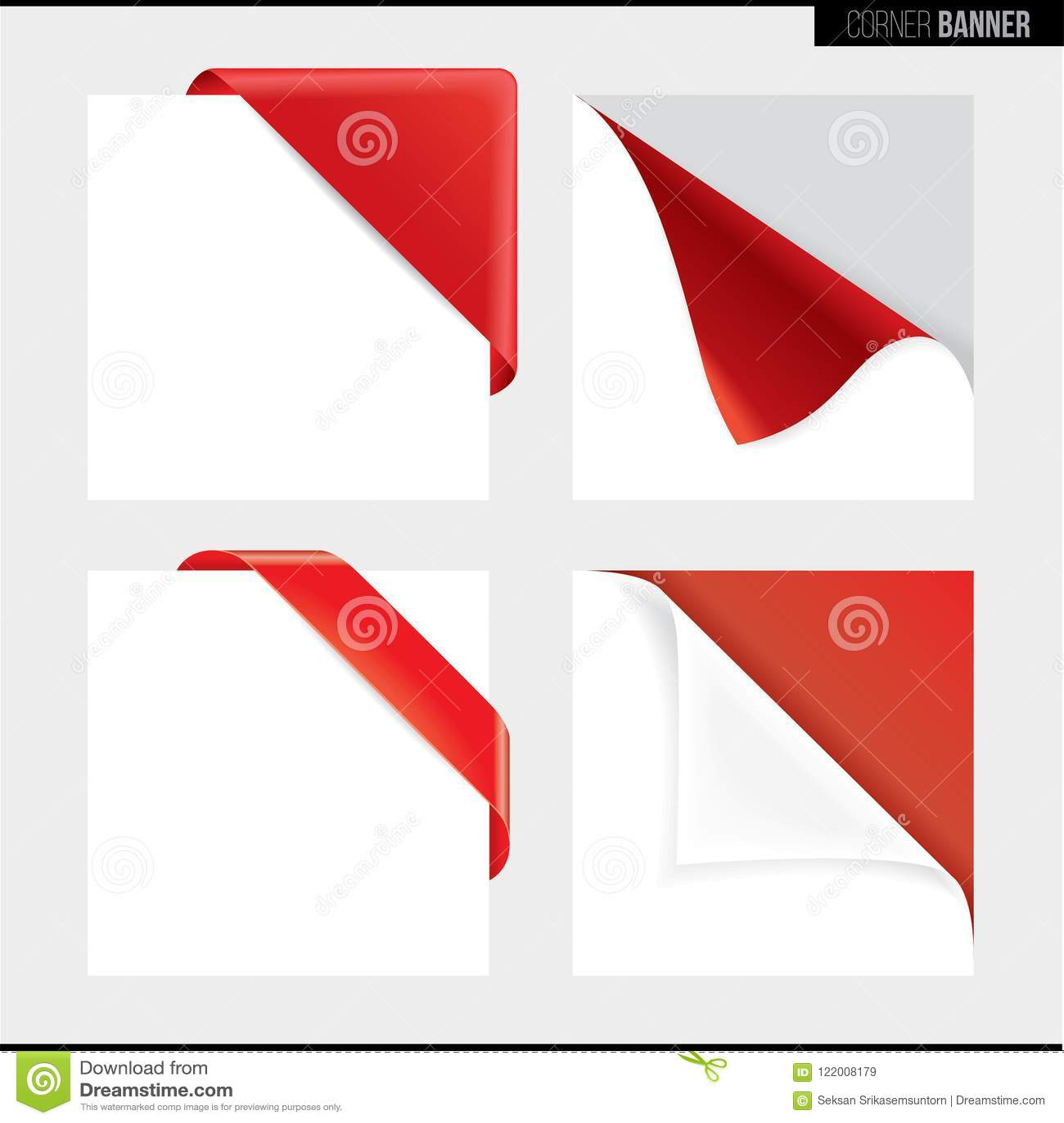 La bandera de la esquina del color verde, vector illustrationRed la bandera de la esquina del color, ejemplo del vector