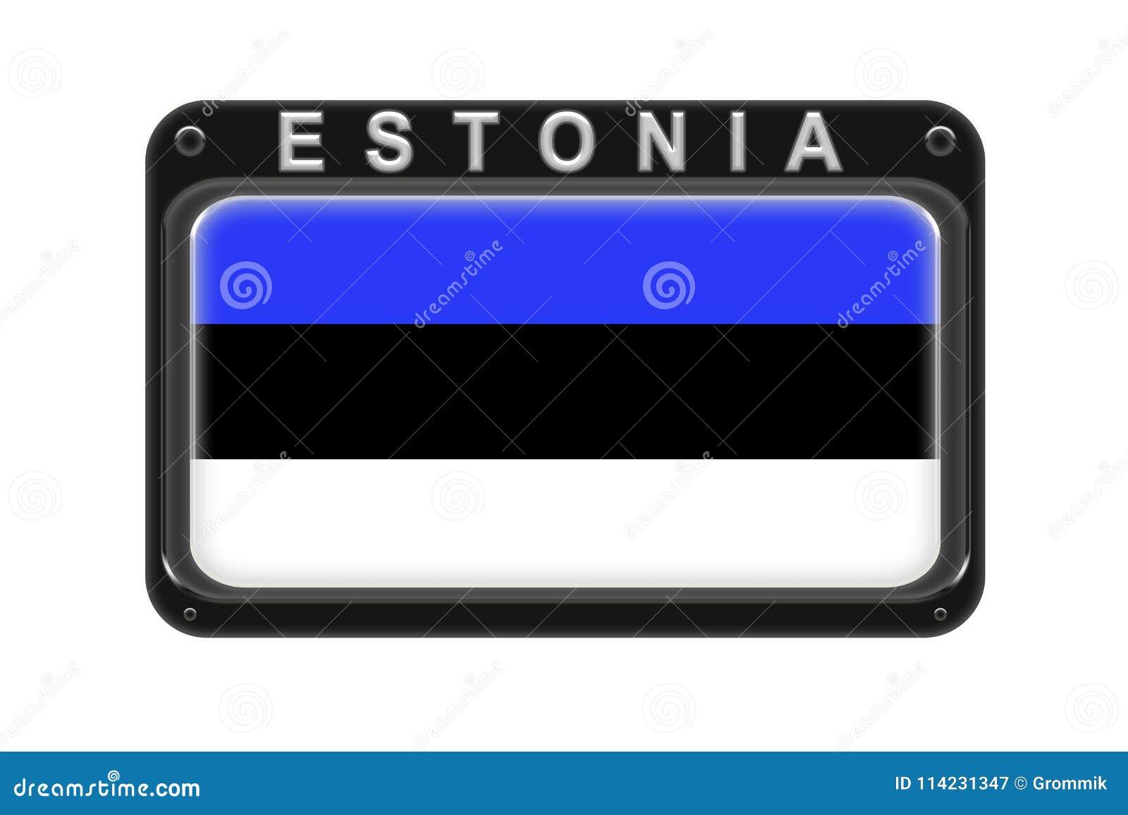 La bandera de Estonia en el marco con los remaches en el fondo blanco