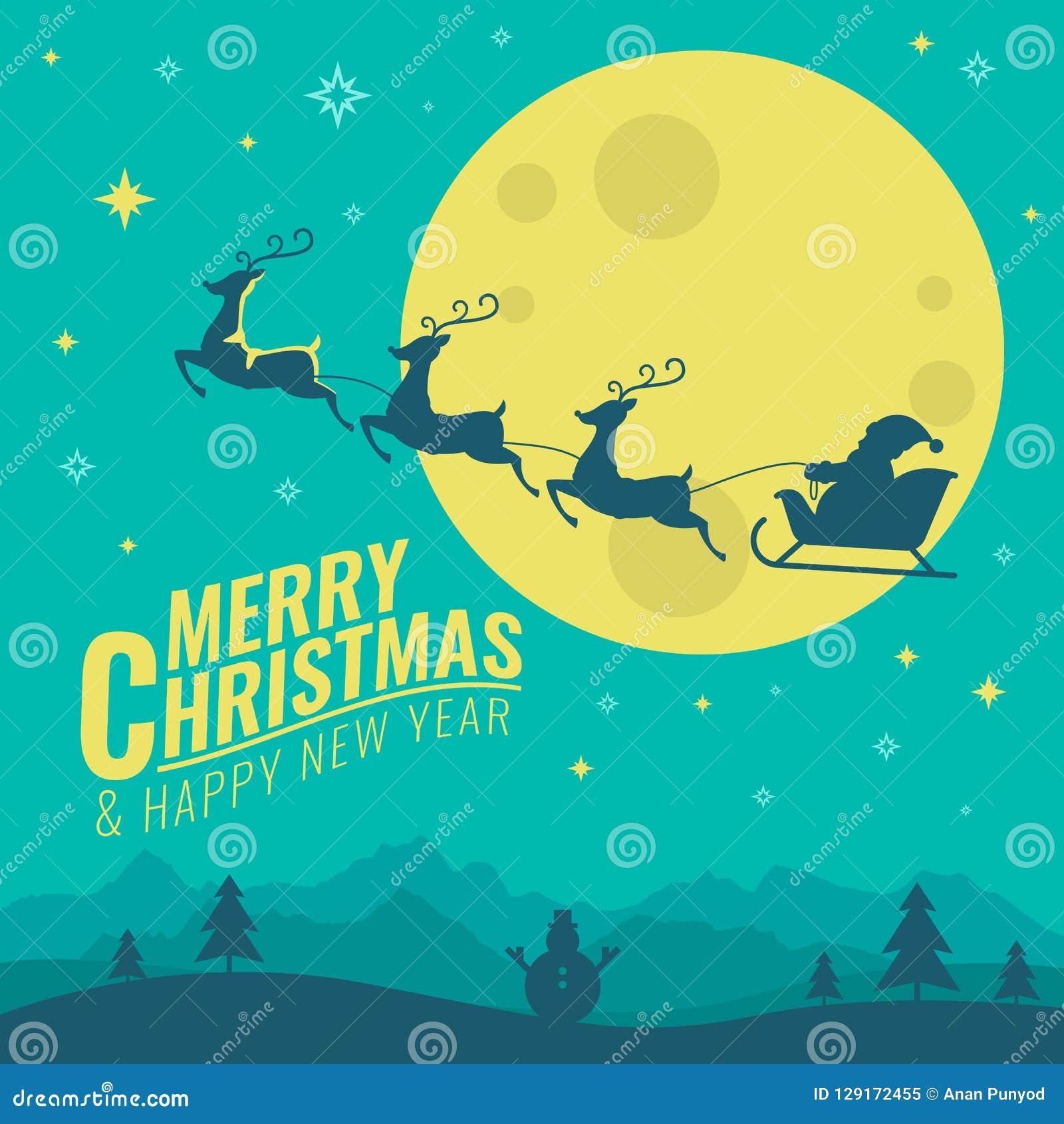 La bandera de la Feliz Navidad y de la Feliz Año Nuevo con los ciervos que tiran del trineo del ` s de Papá Noel en vector de la