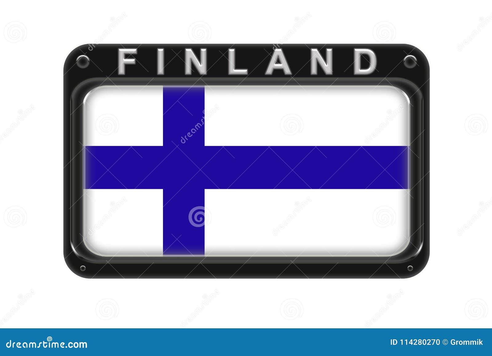 La bandera de Finlandia en el marco con los remaches en el fondo blanco