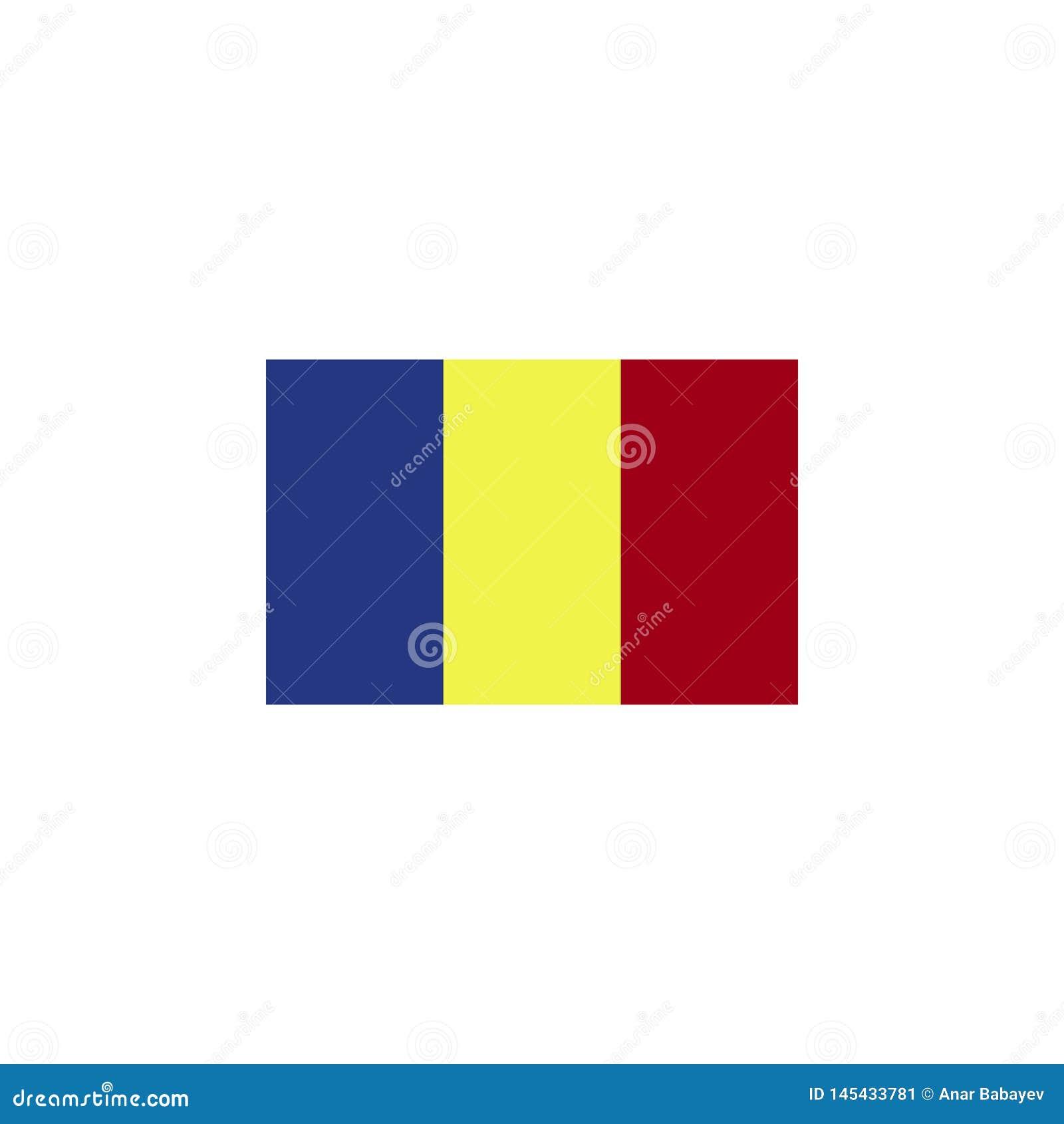 La bandera de Rumania colore? el icono Elementos del icono del ejemplo de las banderas Las muestras y los s?mbolos se pueden util