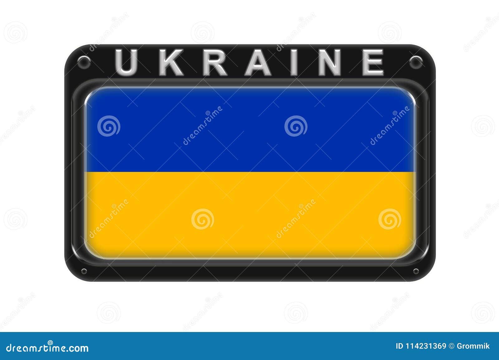La bandera de Ucrania en el marco con los remaches en el fondo blanco