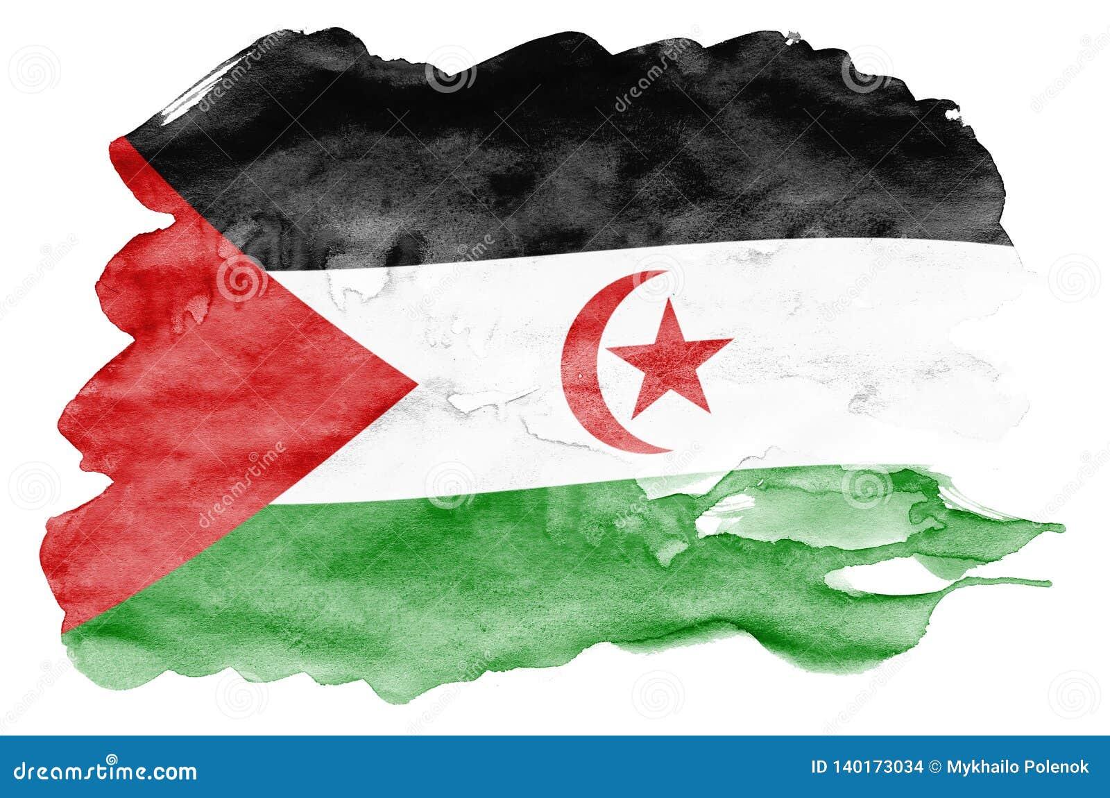 La bandera de Western Sahara se representa en estilo líquido de la acuarela aislada en el fondo blanco