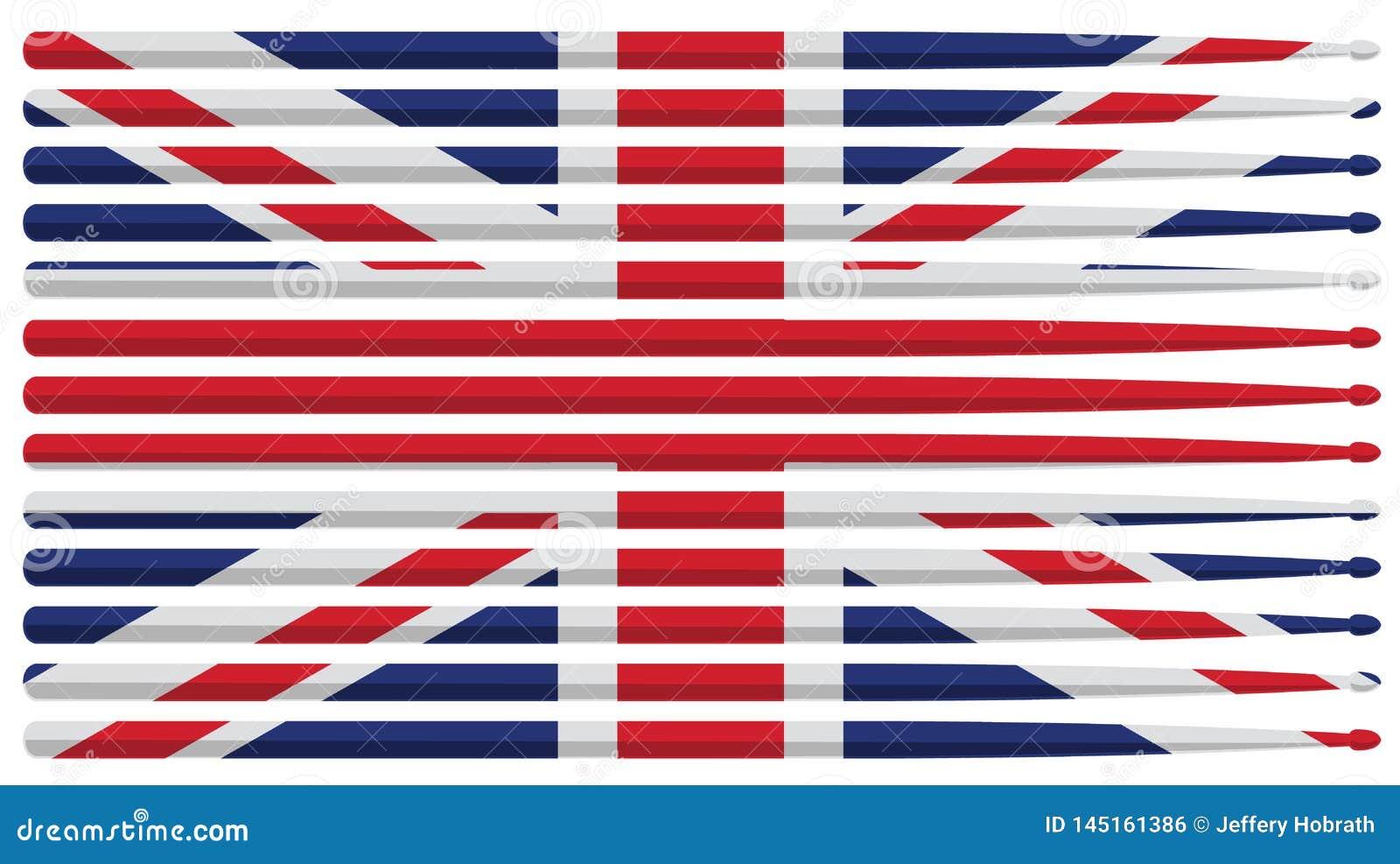 La bandera del batería de Reino Unido con el tambor rayado rojo, blanco y azul pega el ejemplo aislado del vector