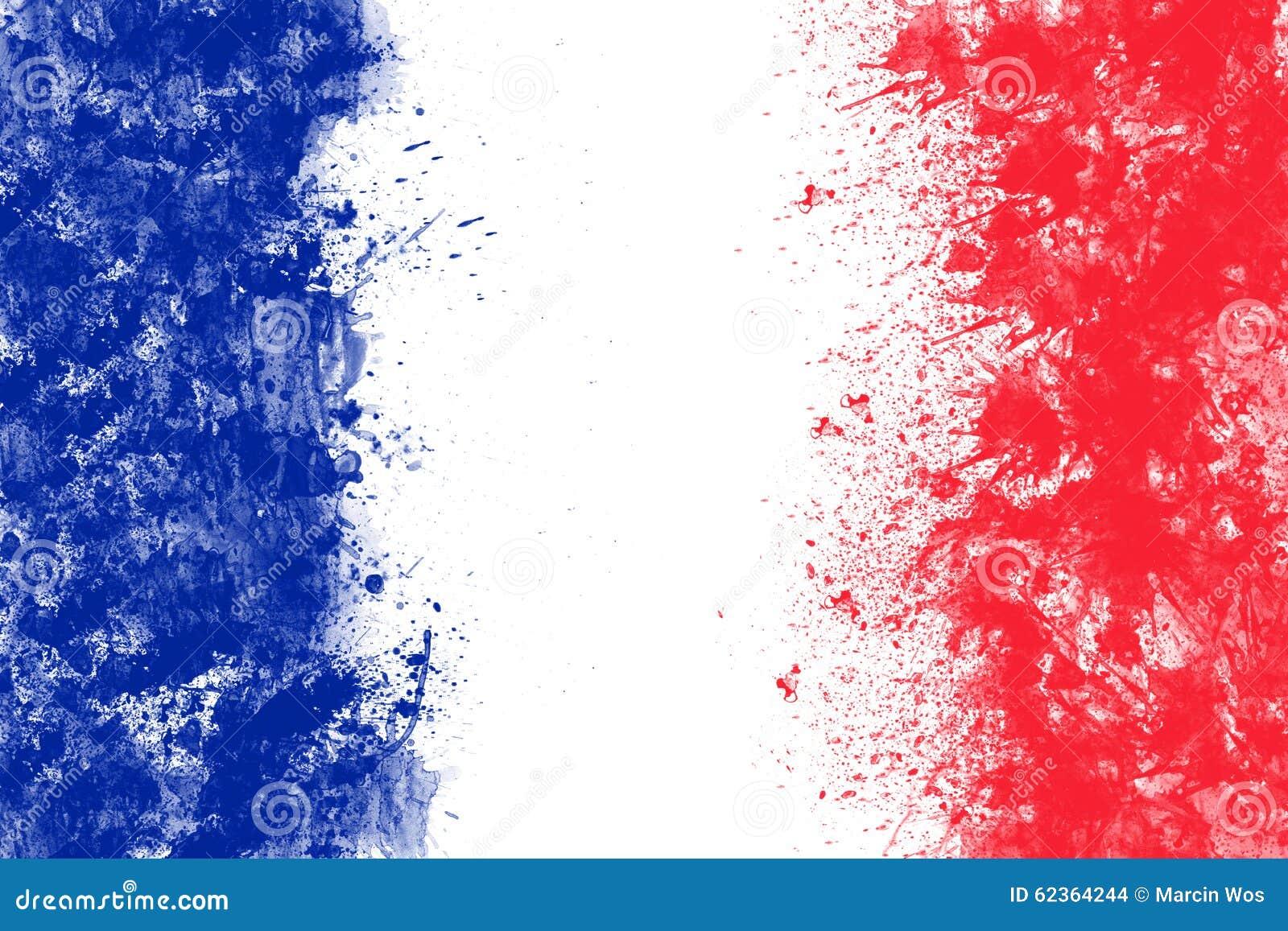 La Bandera Francesa Creada De Chapoteo Colorea Rojo Blanco Azul ...