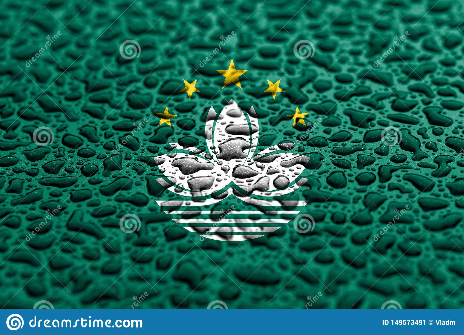La bandera nacional de Macao hizo de descensos del agua Concepto del pron?stico del fondo