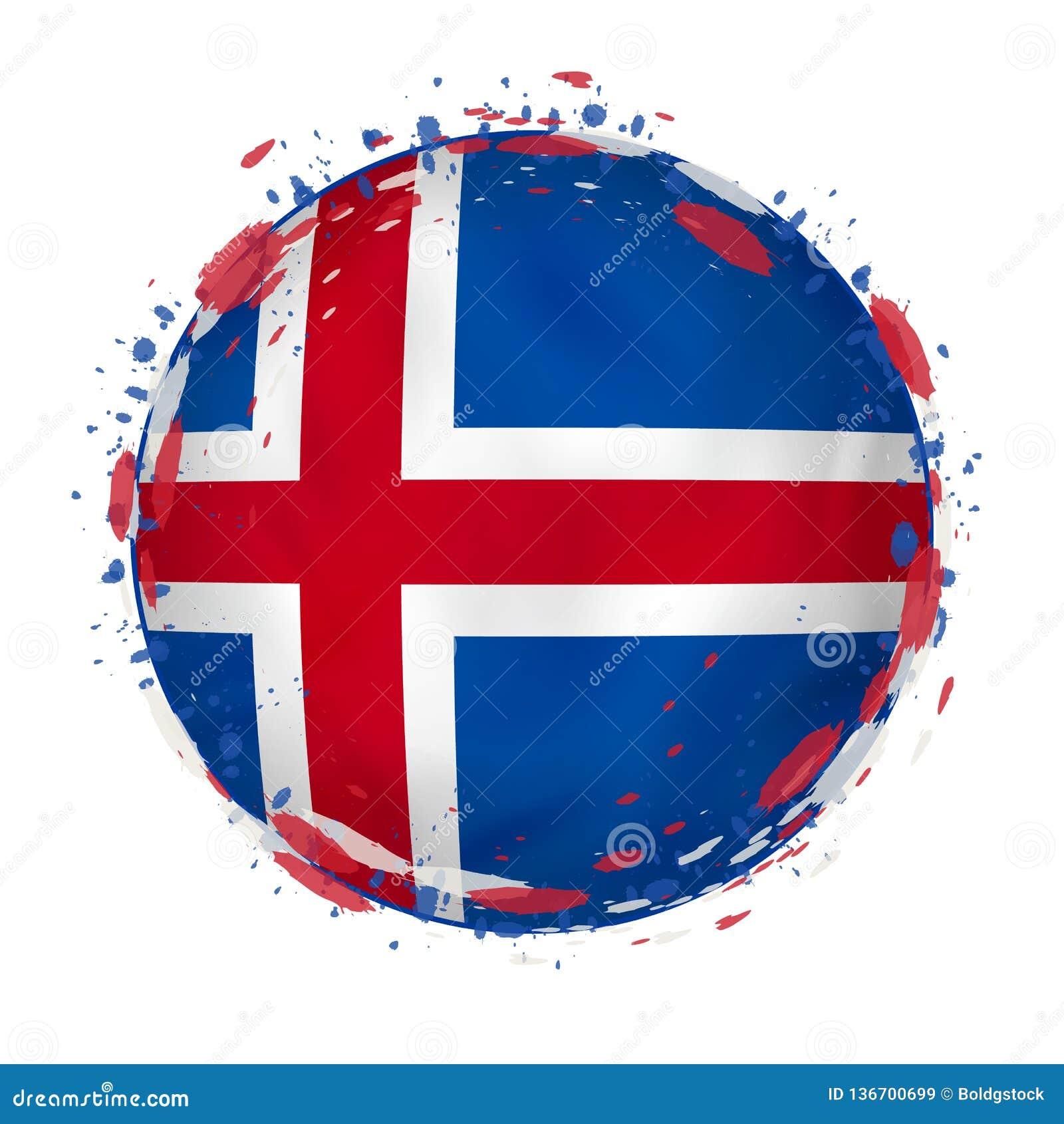 La bandera redonda del grunge de Islandia con salpica en color de la bandera