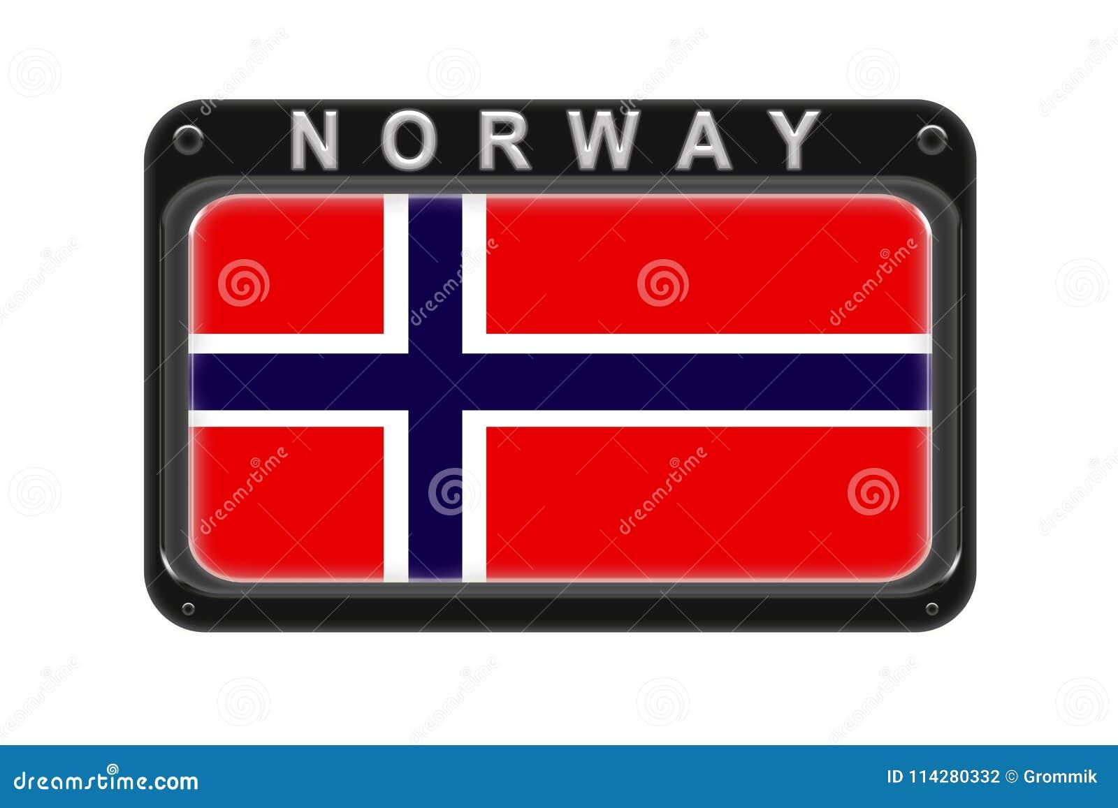 La bandiera della Norvegia nel telaio con i ribattini su fondo bianco