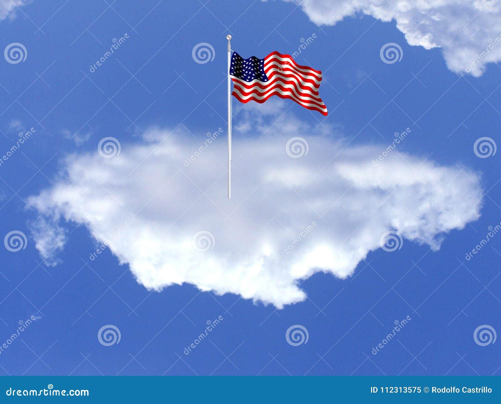 La bandiera nazionale degli Stati Uniti Su una nuvola