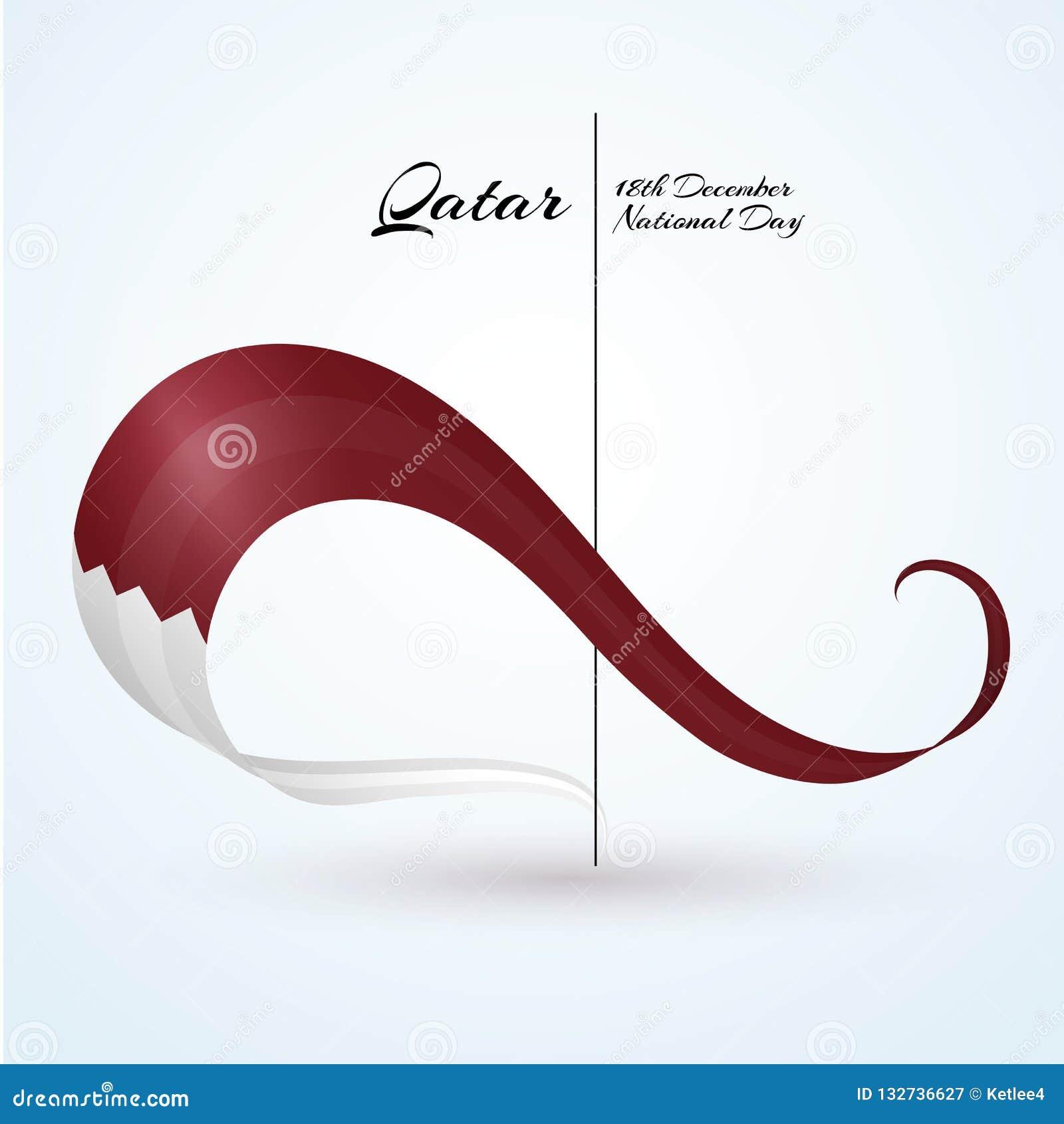 La bandiera nazionale del Qatar ha curvato il nastro dei colori della bandiera con il testo della festa nazionale felice