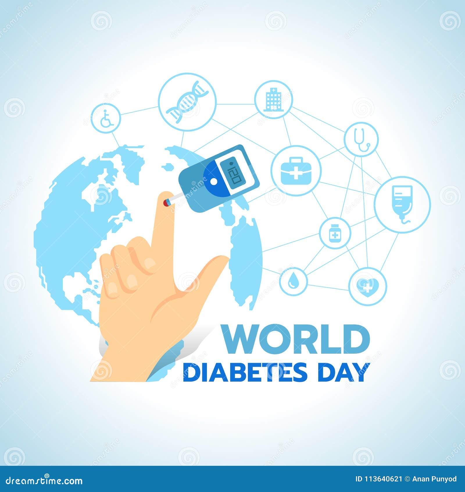 Carte Bleue Test.La Banniere De Jour De Diabete Du Monde Avec Le Sang Sugar