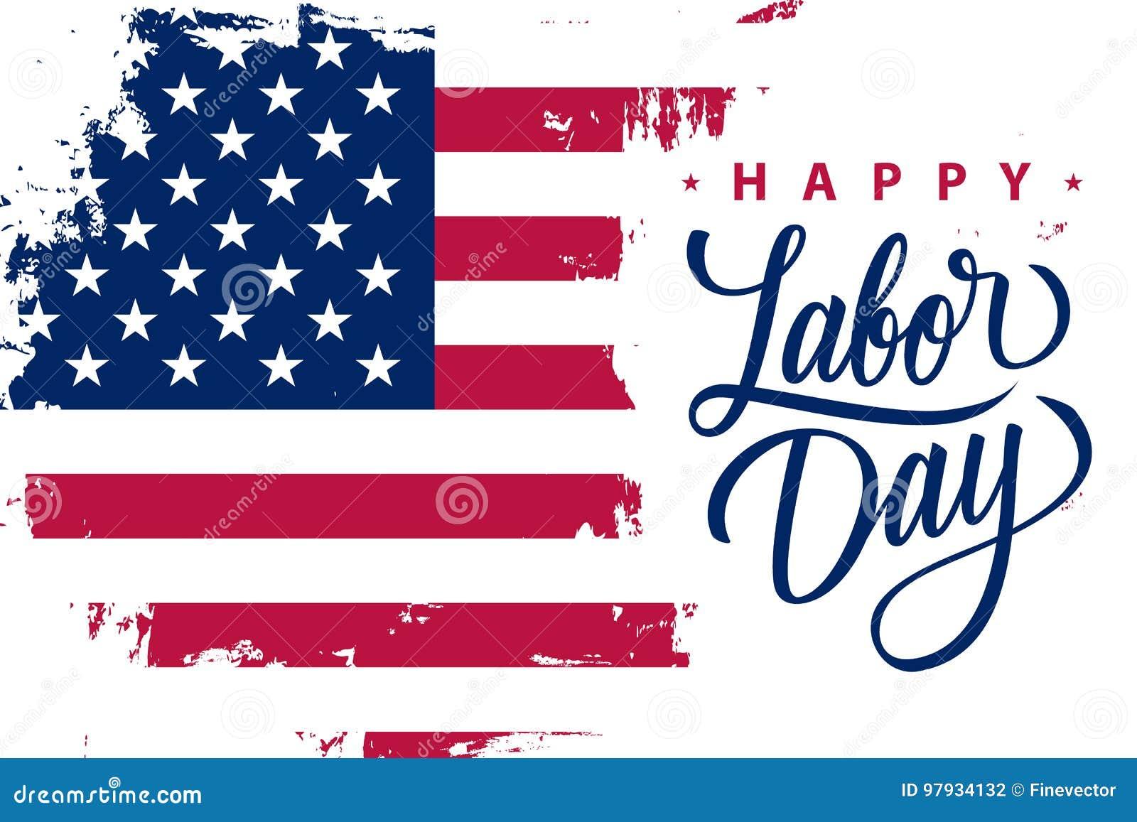 La bannière heureuse de vacances de Fête du travail avec le fond de course de brosse dans des couleurs de drapeau national des Et