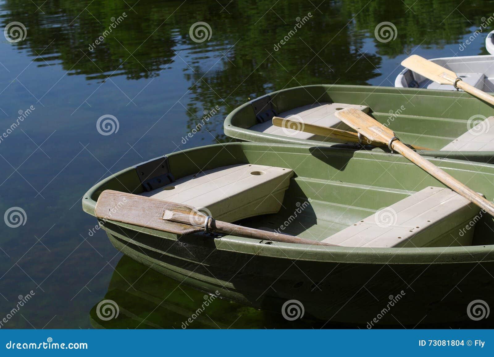La barca ha parcheggiato sulla riva di un lago con i loro remi su