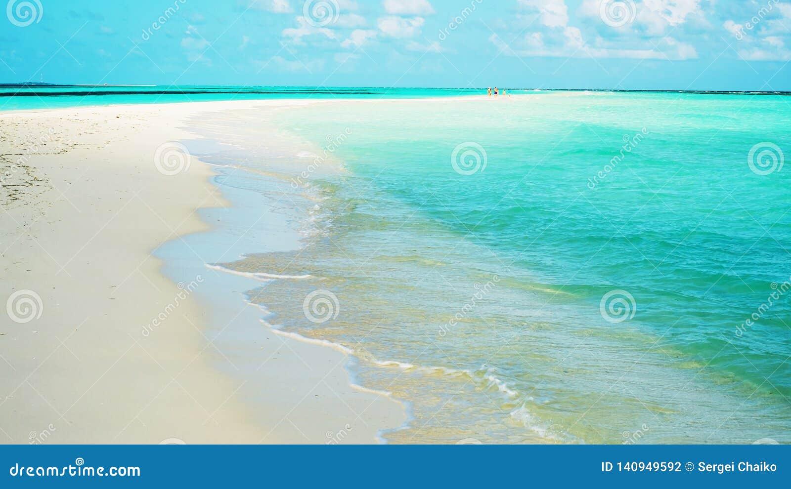 La barra de arena aparece durante la bajamar en la isla Lhaviyani, Maldivas