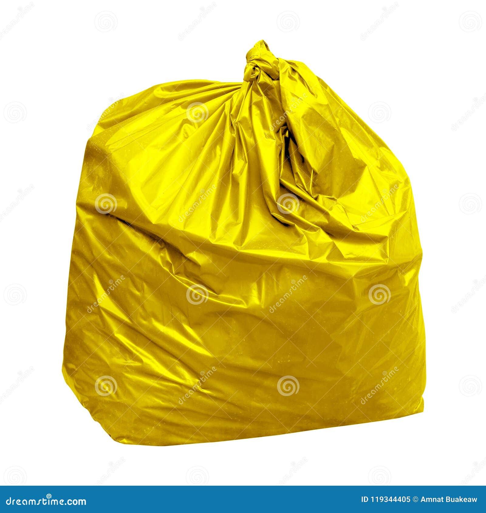 La basura, plástico amarillo del bolso de basura con concepto el color de los bolsos de basura amarillos es basura reciclable ais