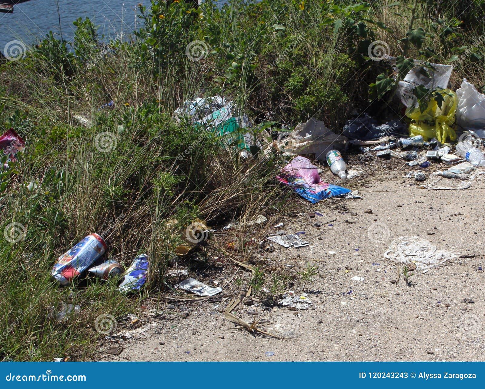 La basura se fue en la tierra al lado del río