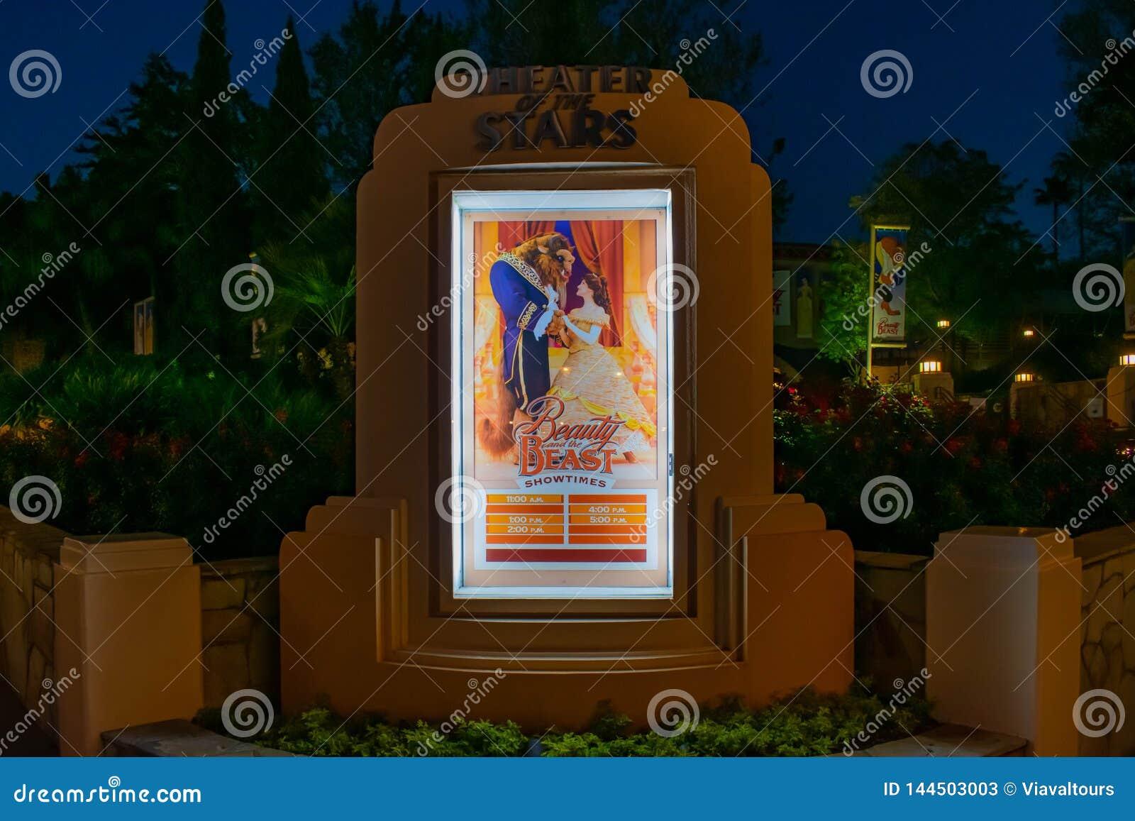 La beauté et les temps d exposition de bête signent dans des studios de Hollywood chez Walt Disney World