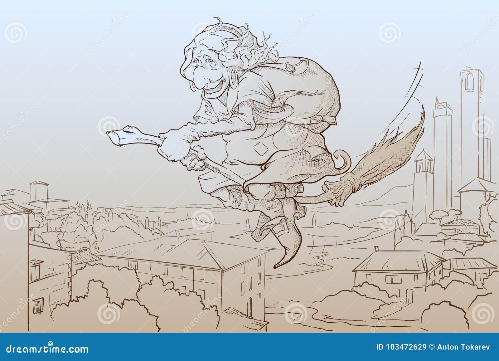 La Befana, das über San Gimignano-Skizze fliegt