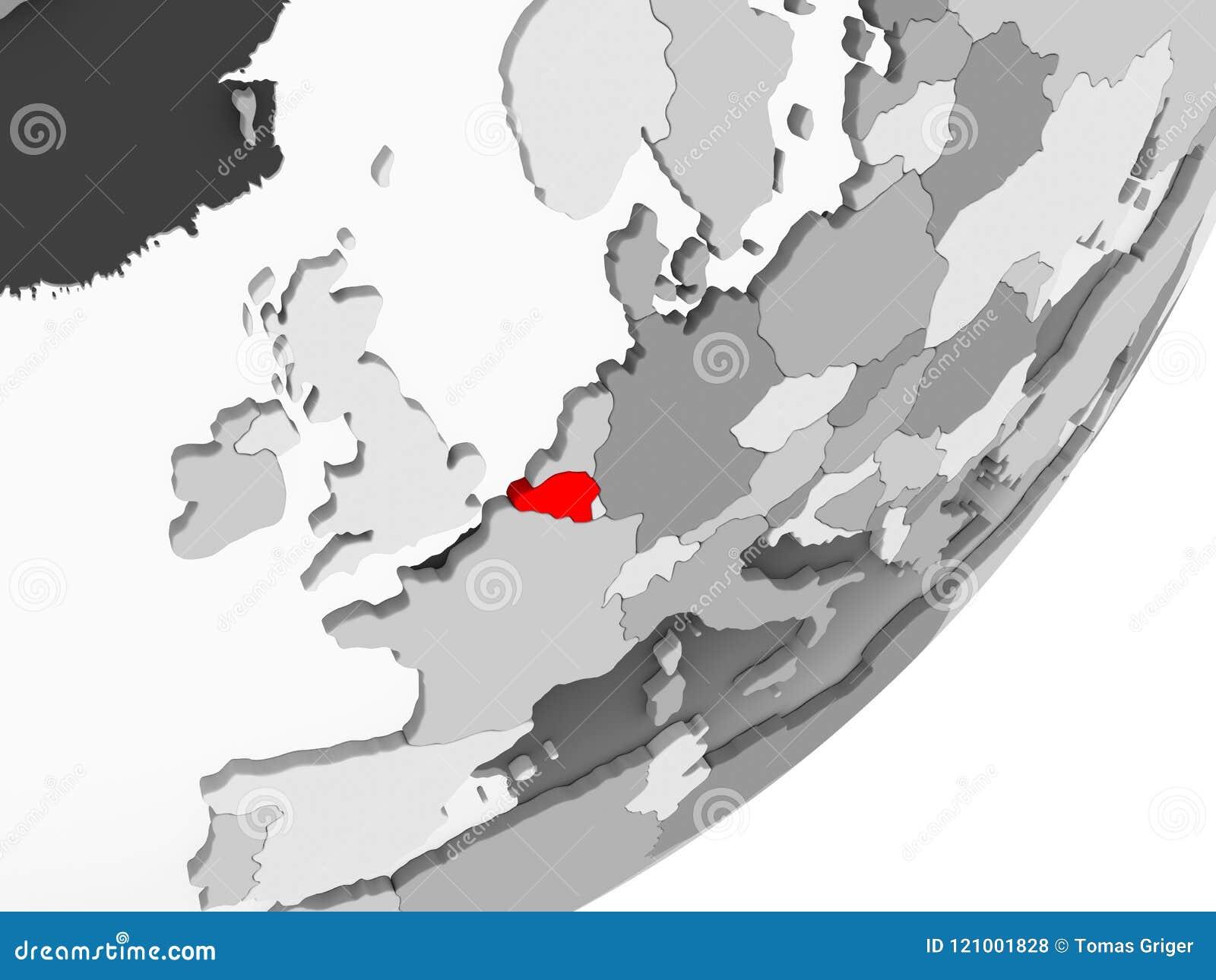 La Belgique En Rouge Sur La Carte Grise Illustration Stock