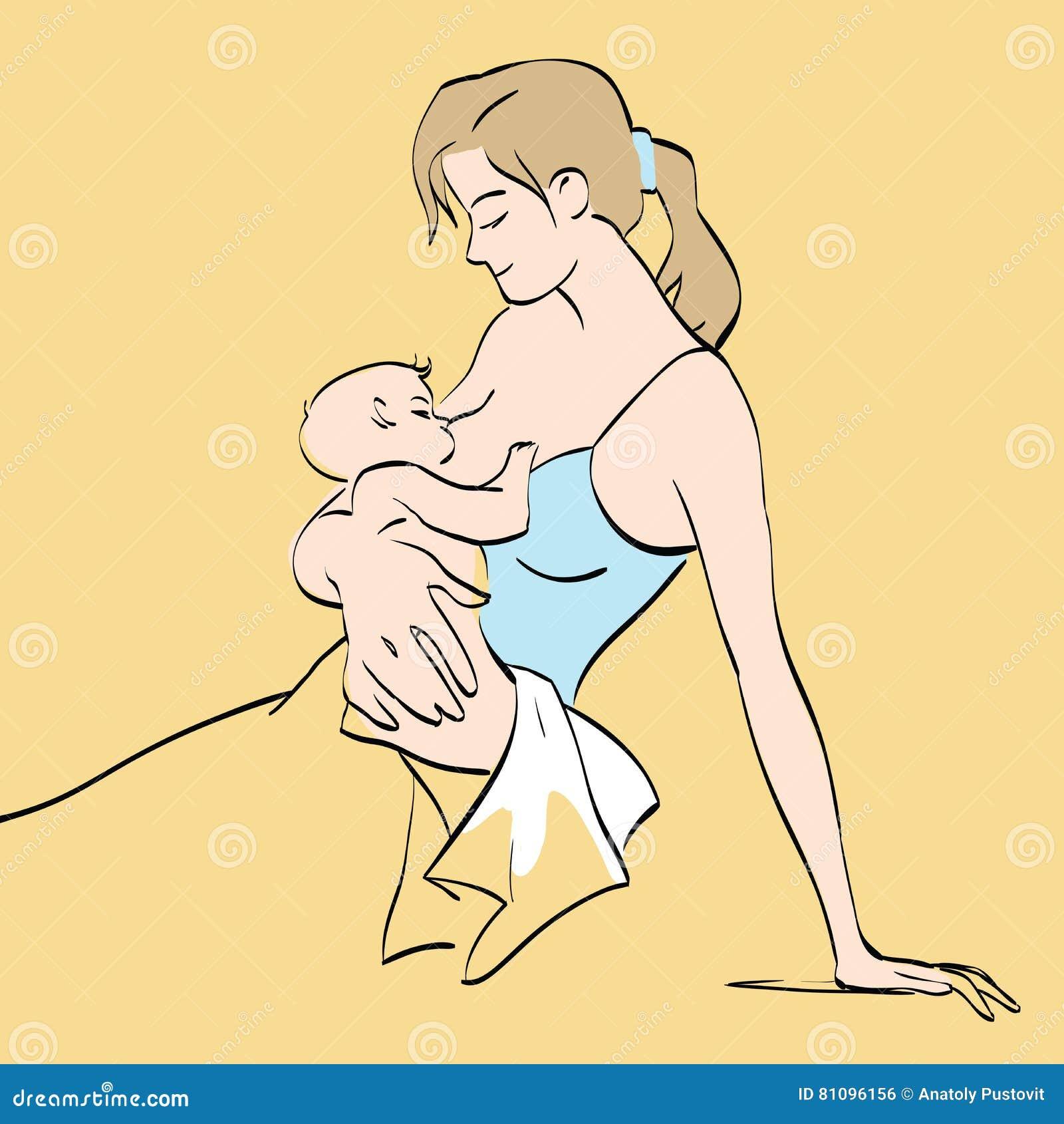 La bella madre allatta al seno il bambino
