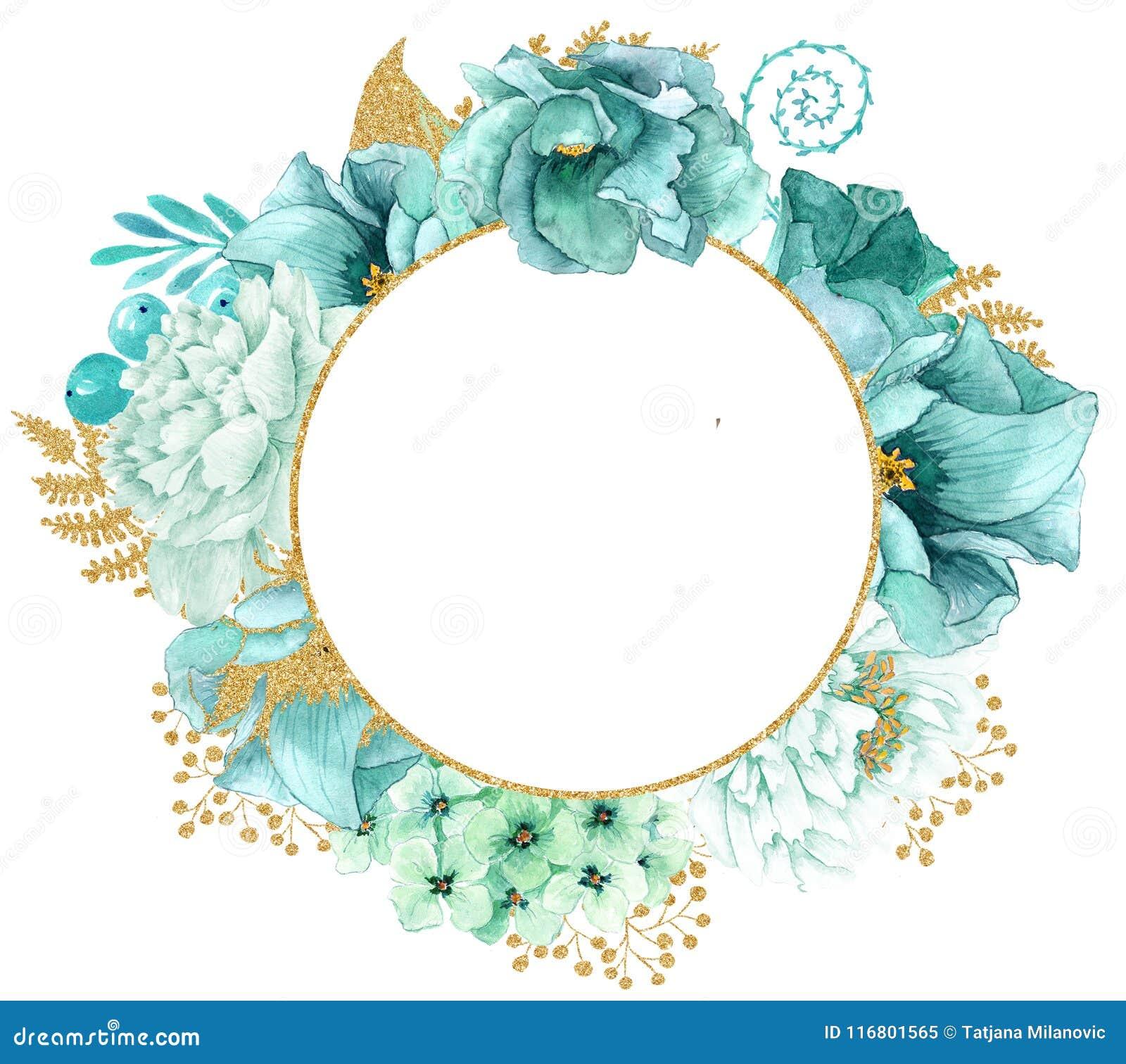 La bella menta dell acquerello fiorisce la struttura Struttura del fiore dell oro della menta!