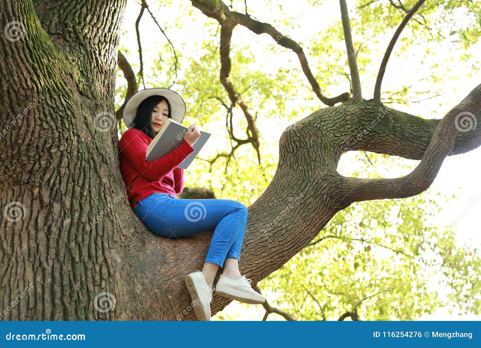 La bella ragazza della donna della natura cinese asiatica sveglia felice in un parco della molla gode del libro colto tempo liber