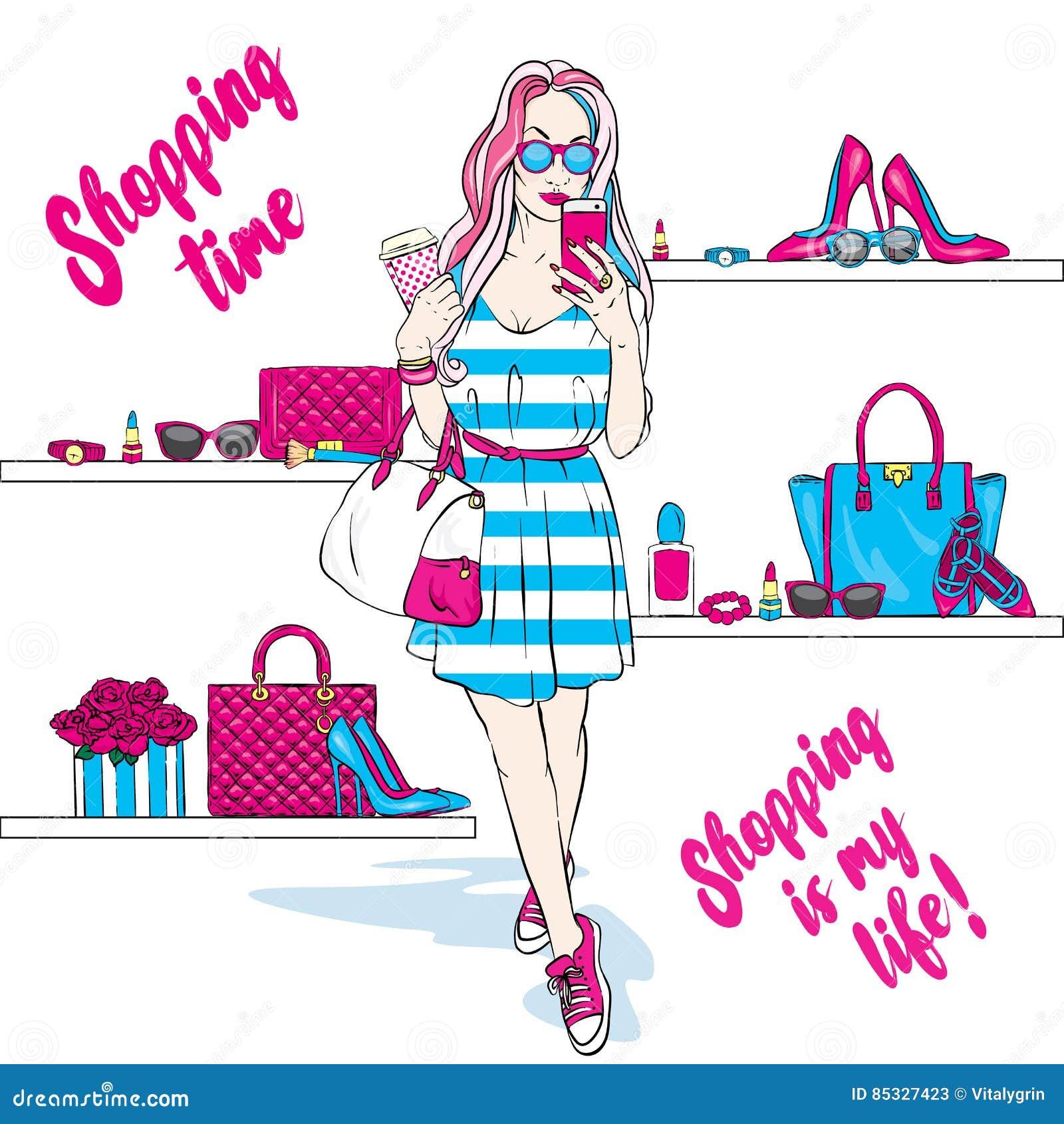 05a335d86914 La bella ragazza va a fare spese in vestito e scarpe da tennis alla moda  Abbigliamento